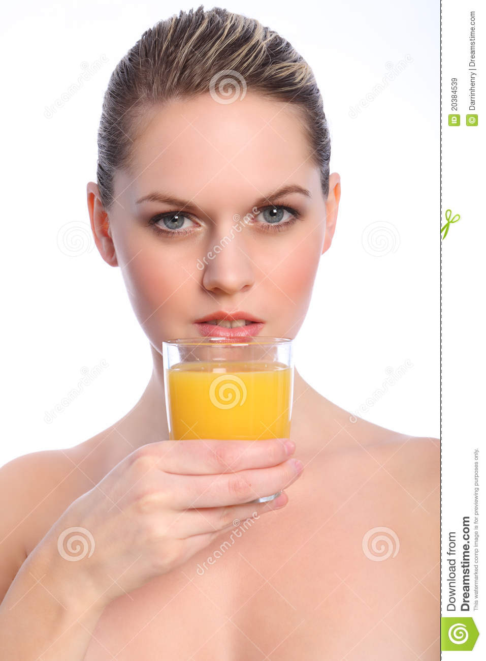Belle Femme Boit Jus Fruit Orange Sain