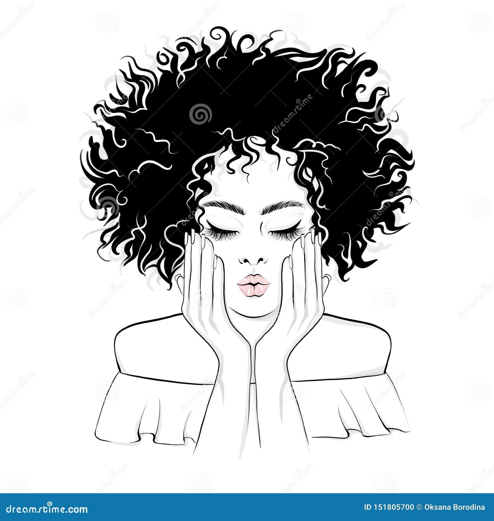 La belle femme d Afro-américain donne un baiser
