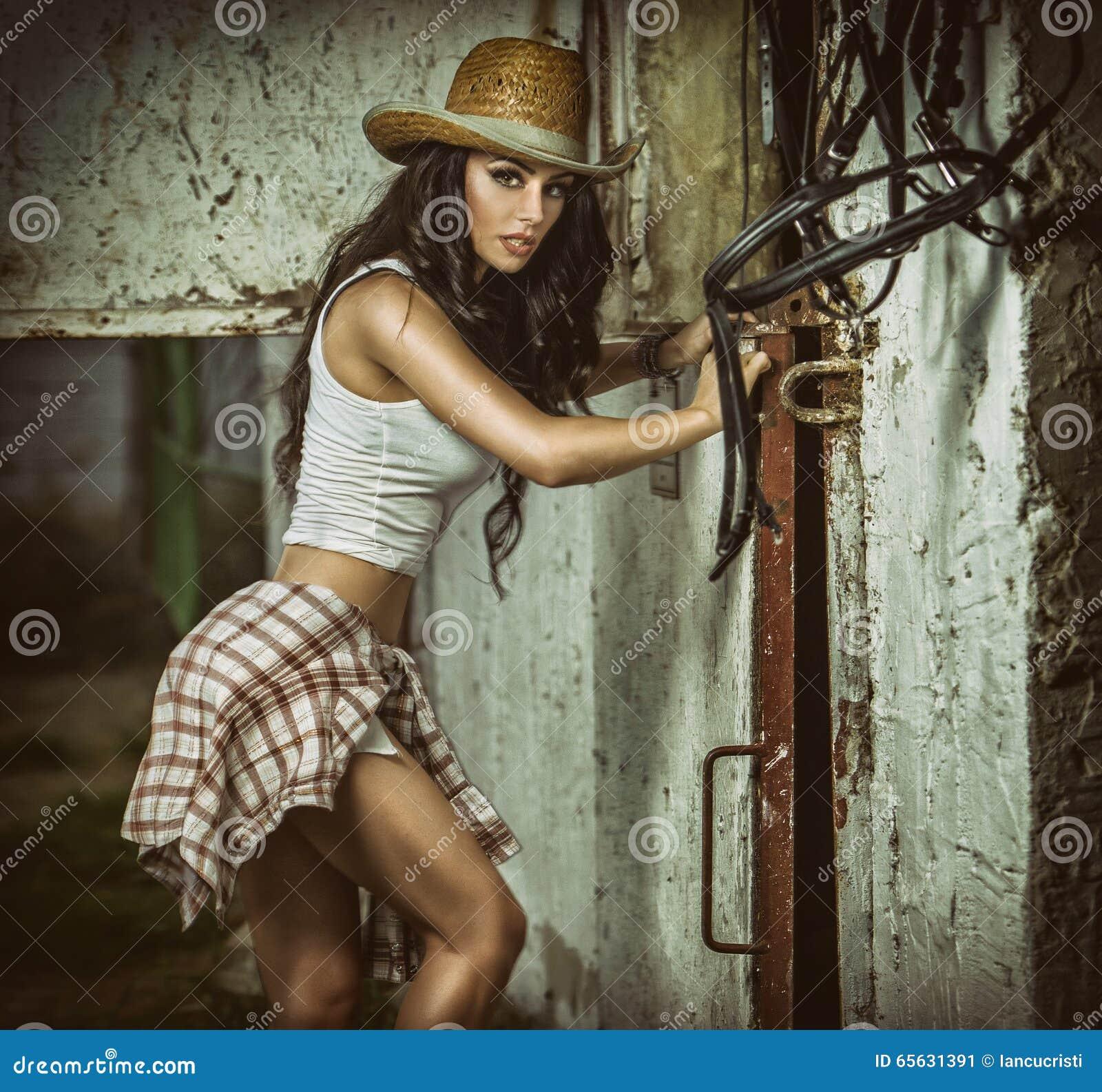 La belle fille de brune avec le regard de pays, a à l intérieur tiré dans le style stable et rustique La femme attirante avec le