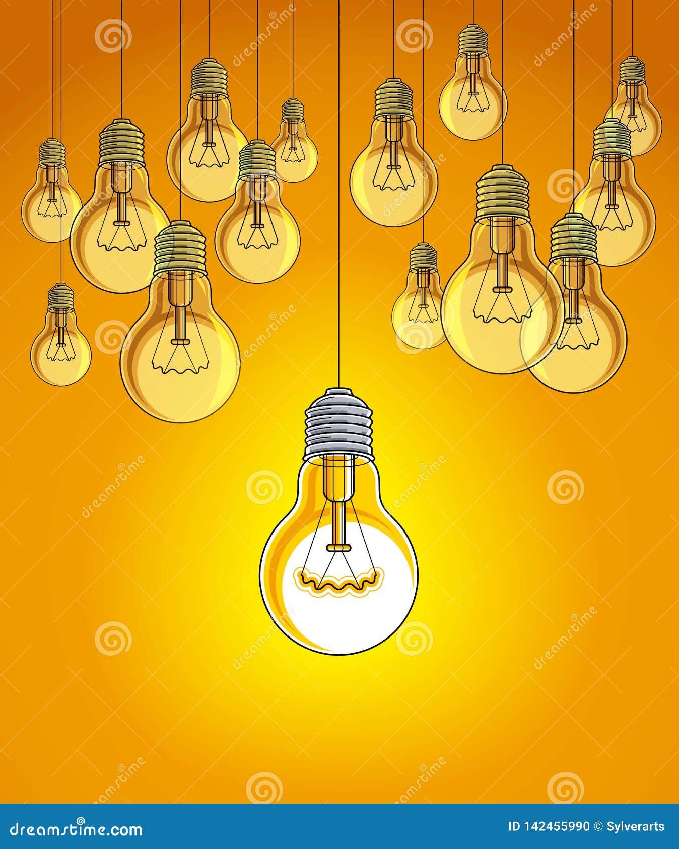 La belle illustration de vecteur d ampoules avec la simple brillant, concept d idée, pensent différent, se tiennent hors de la fo