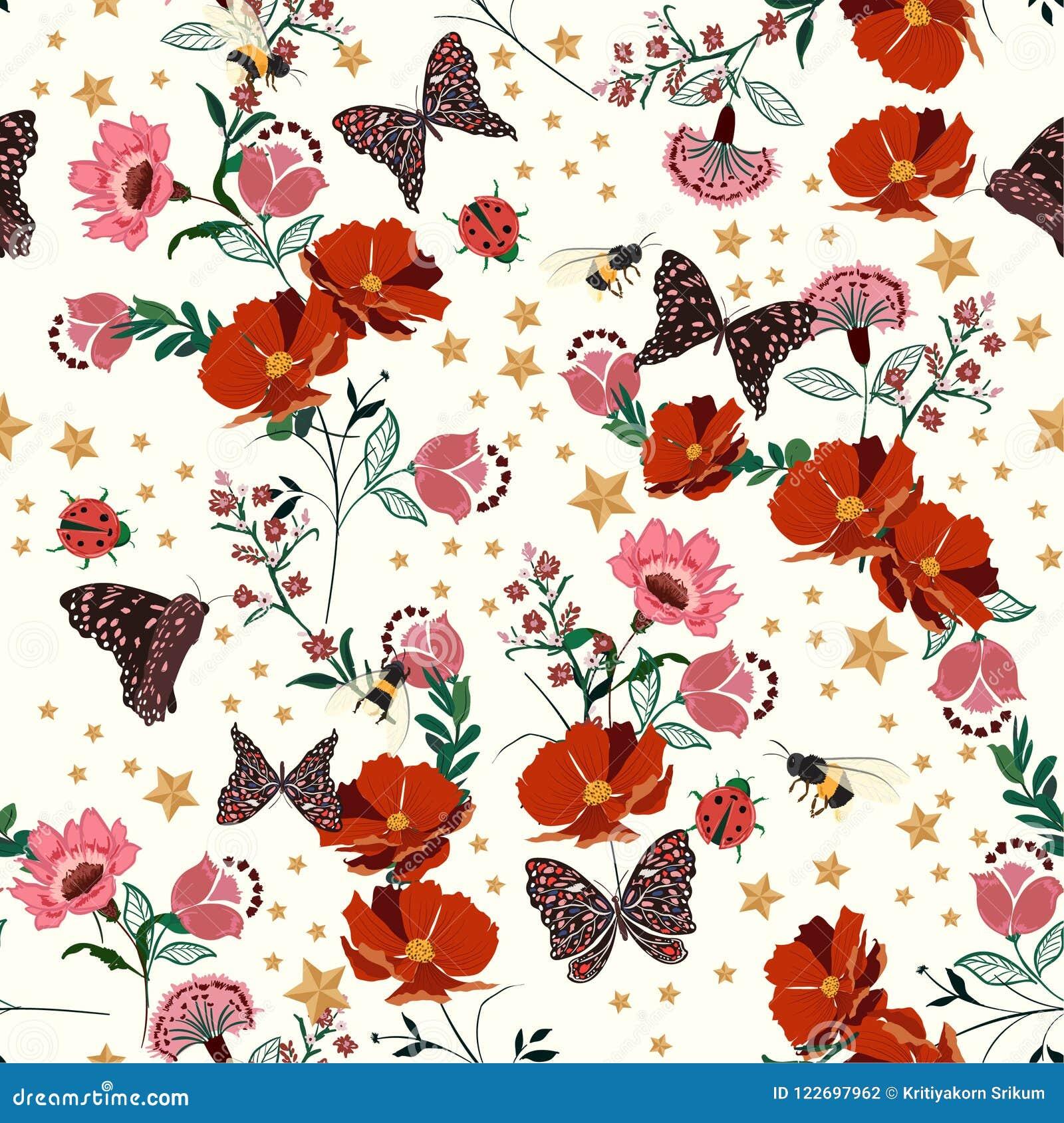La belle rétro floraison fleurit avec l insecte, abeilles, papillon, dame