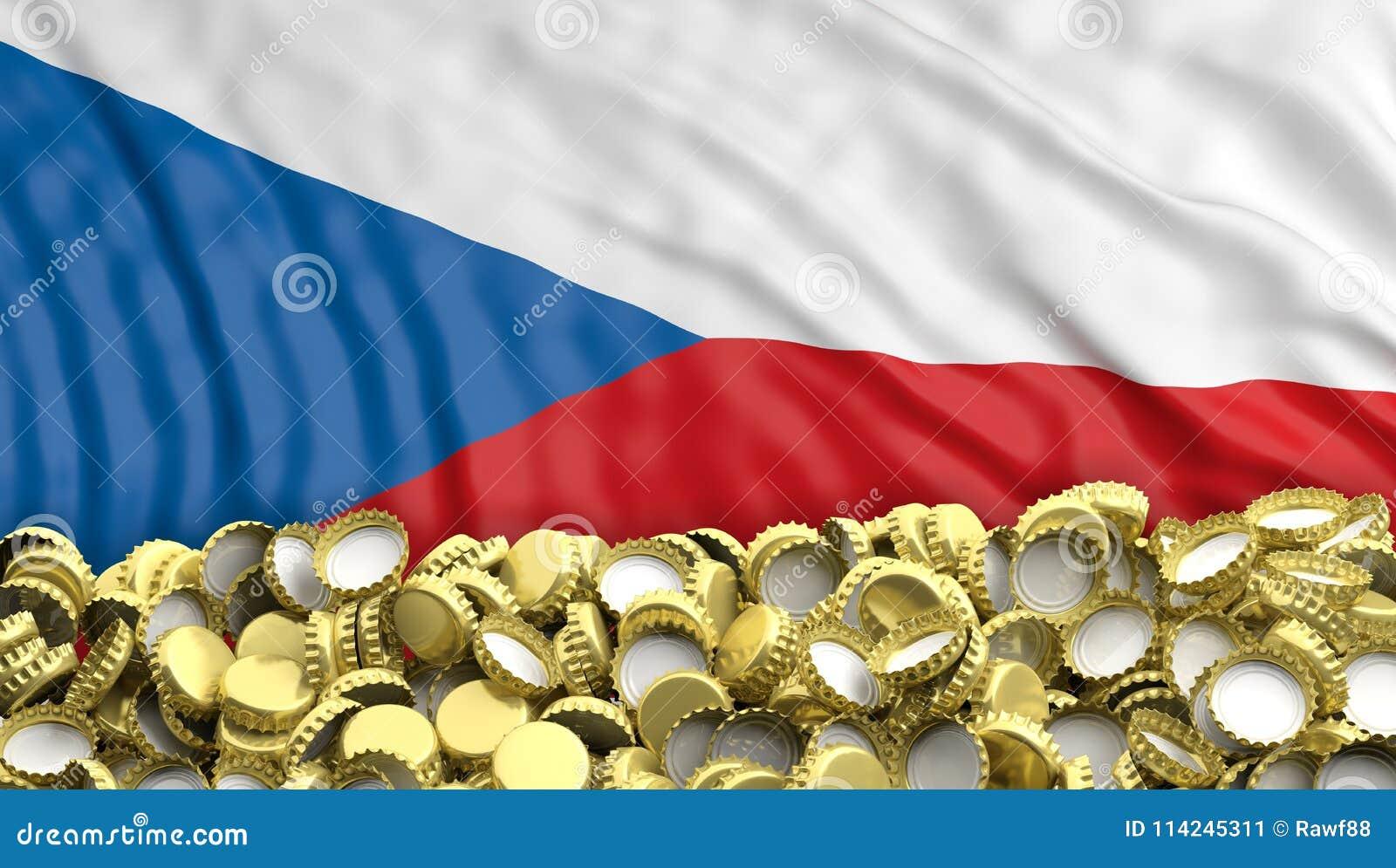 La bière d or couvre la pile sur le backgroun de drapeau de République Tchèque illustration 3D