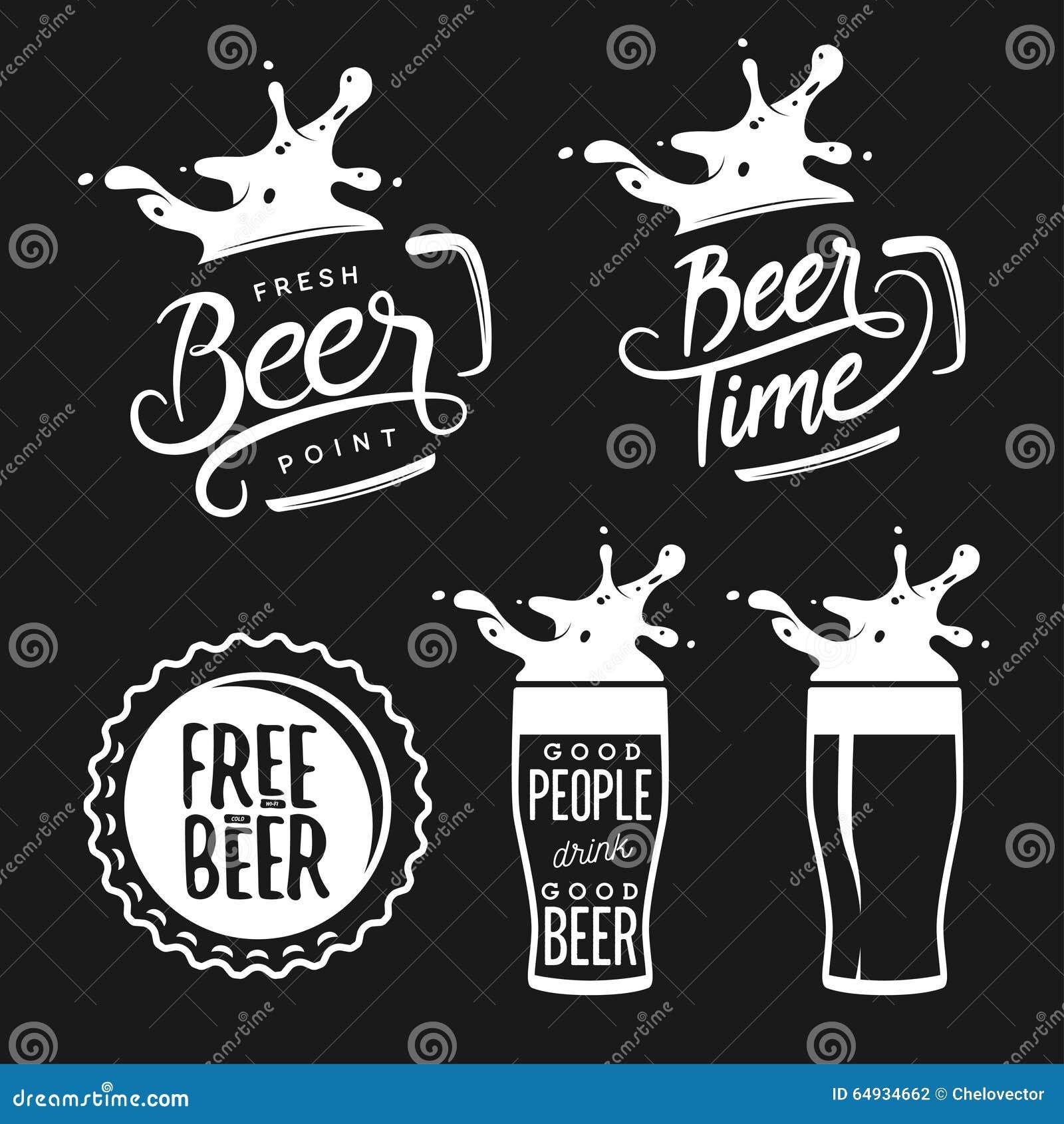La bière a rapporté l ensemble de typographie Vintage de vecteur