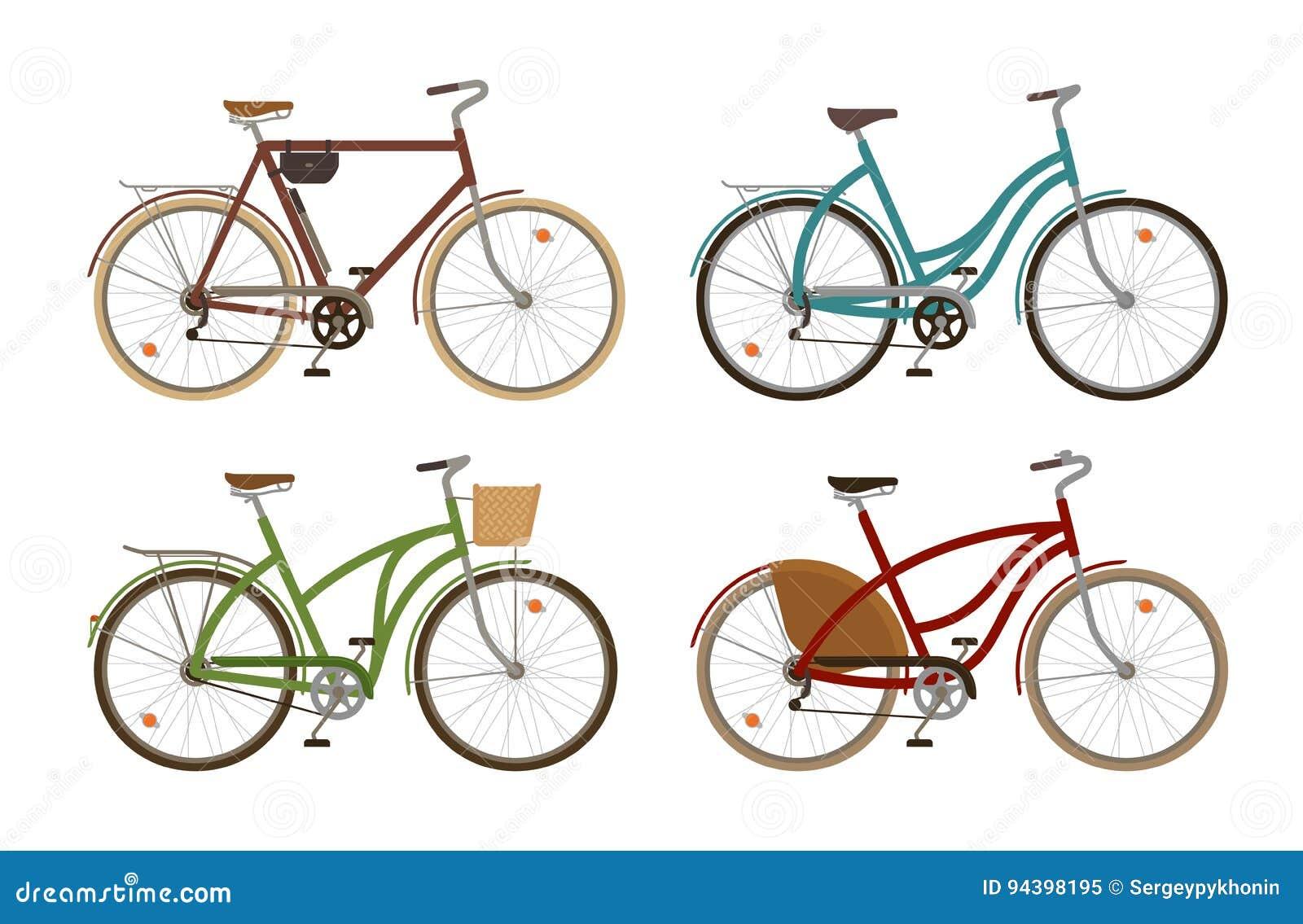 La bici clásica, fijó iconos Bicicleta retra, ciclo, transporte Ilustración del vector de la historieta