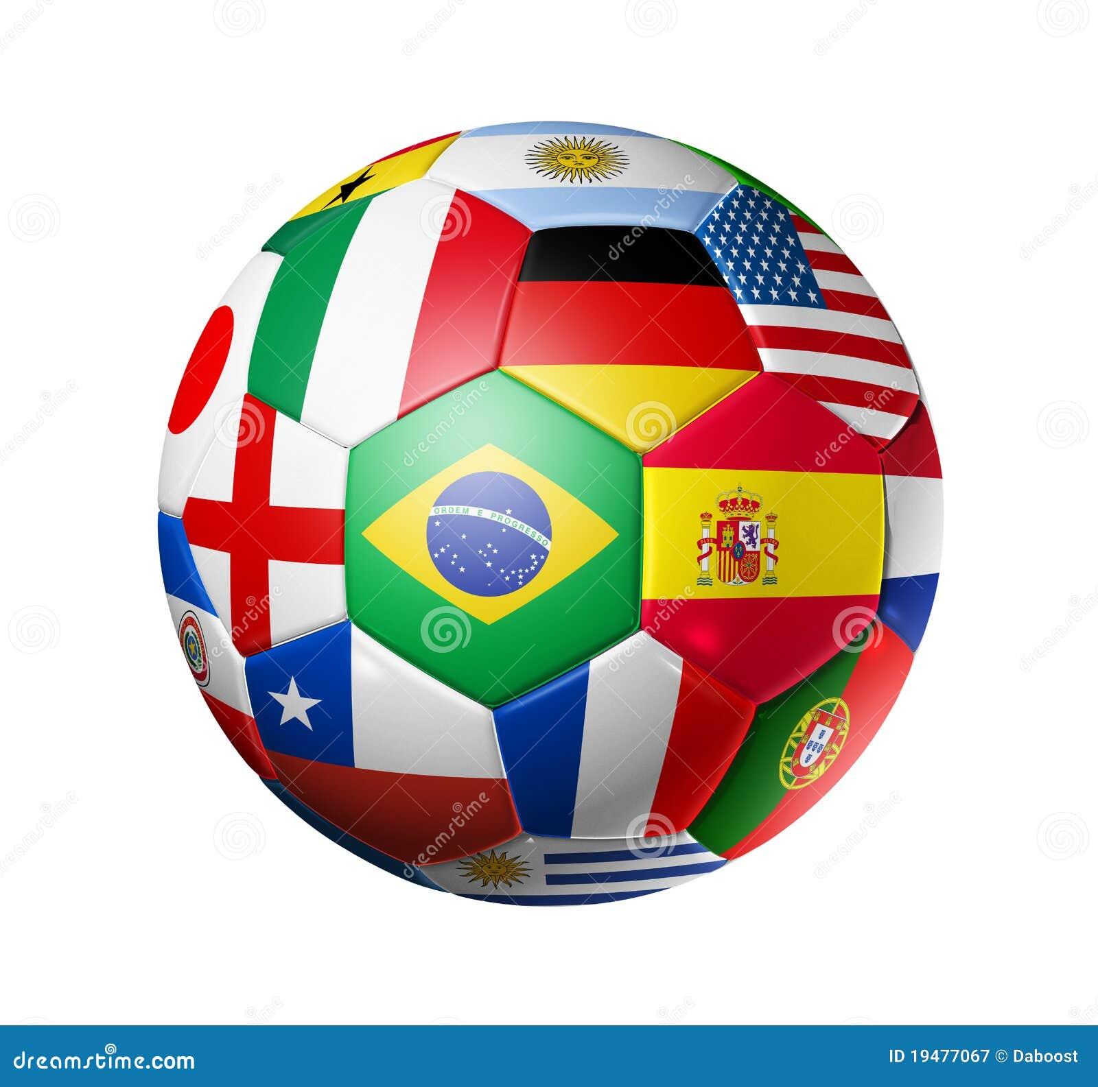 La bille de football du football avec le monde teams des indicateurs