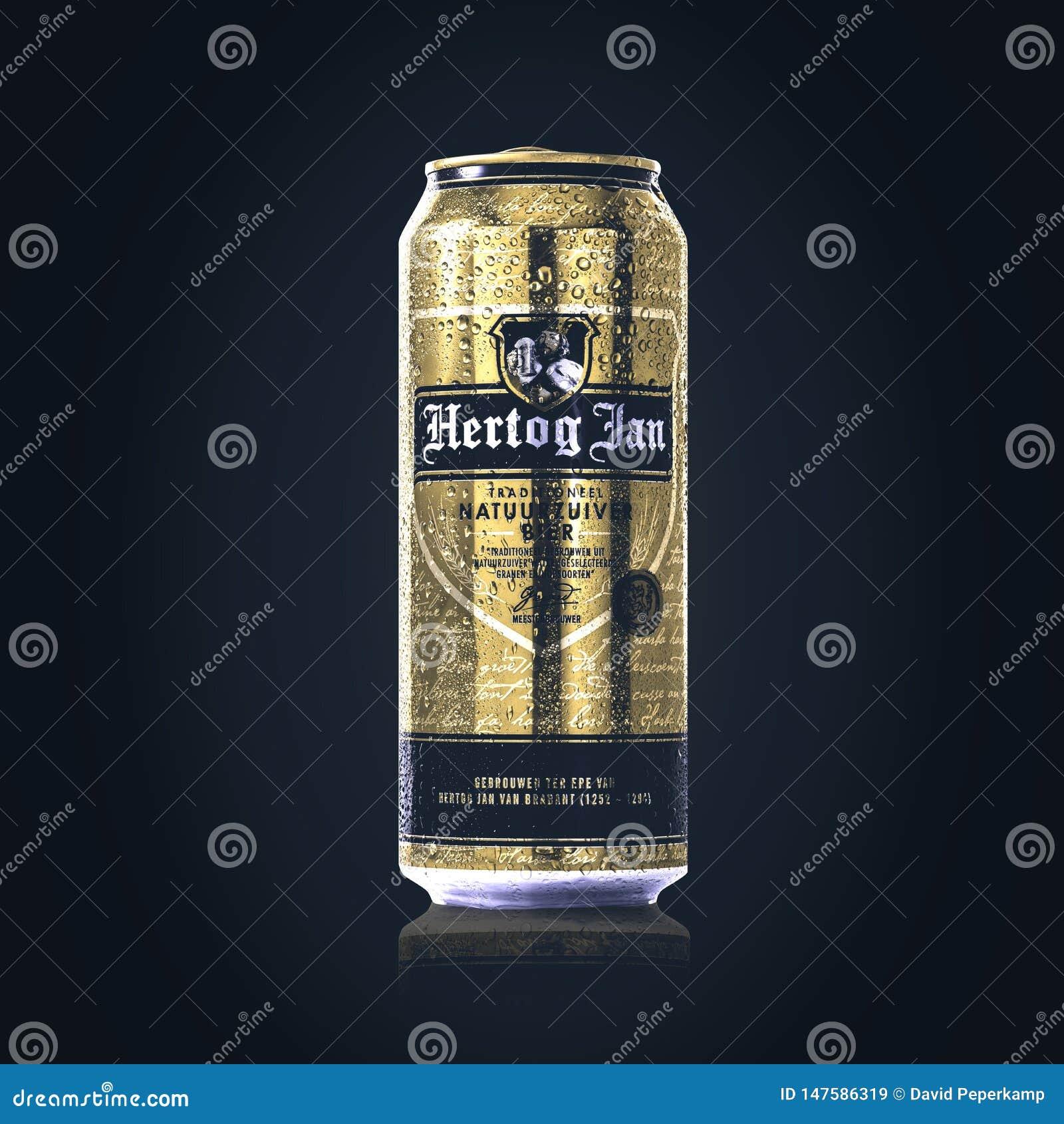 La birra di Hertog gennaio può, goccioline di acqua/condensazione sulla latta di birra