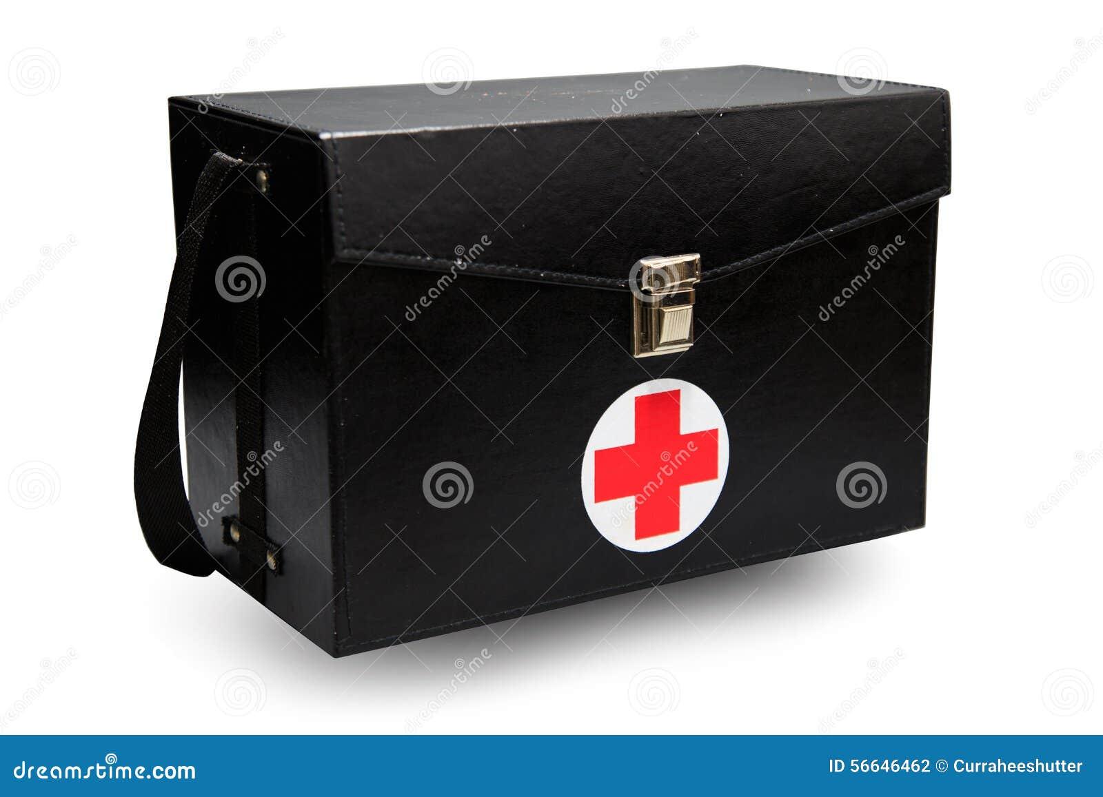 La boîte de kit de premiers secours à l arrière-plan blanc ou au fond d isolement, cas d urgence a utilisé la boîte d aide pour l