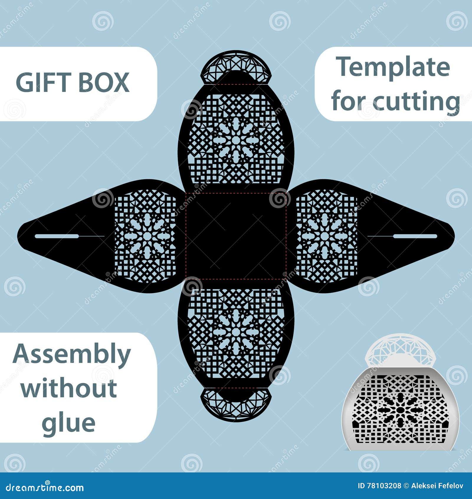 La boîte de papier de cadeau à jour avec une poignée, le modèle de dentelle, ensemble sans colle, a coupé le calibre, empaquetant
