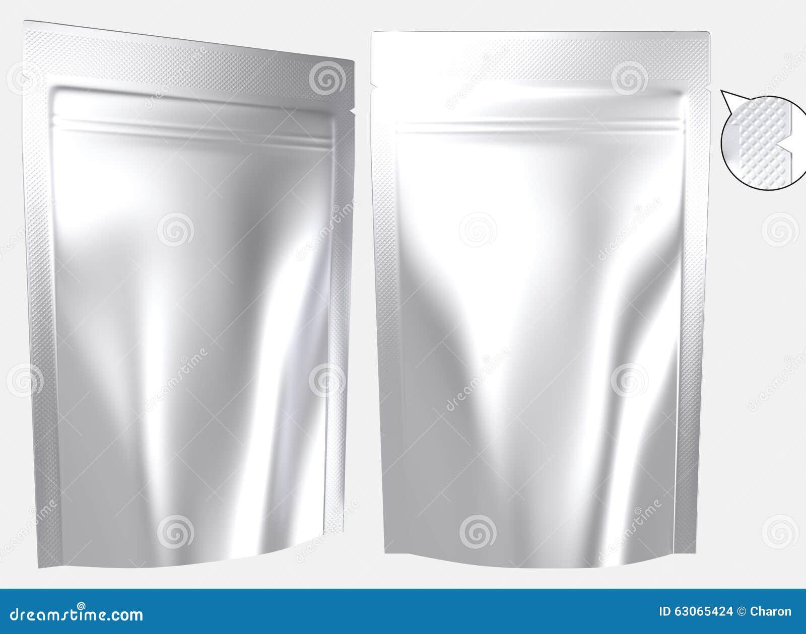 La bolsa de plástico derecha que se puede volver a sellar de la hoja en blanco