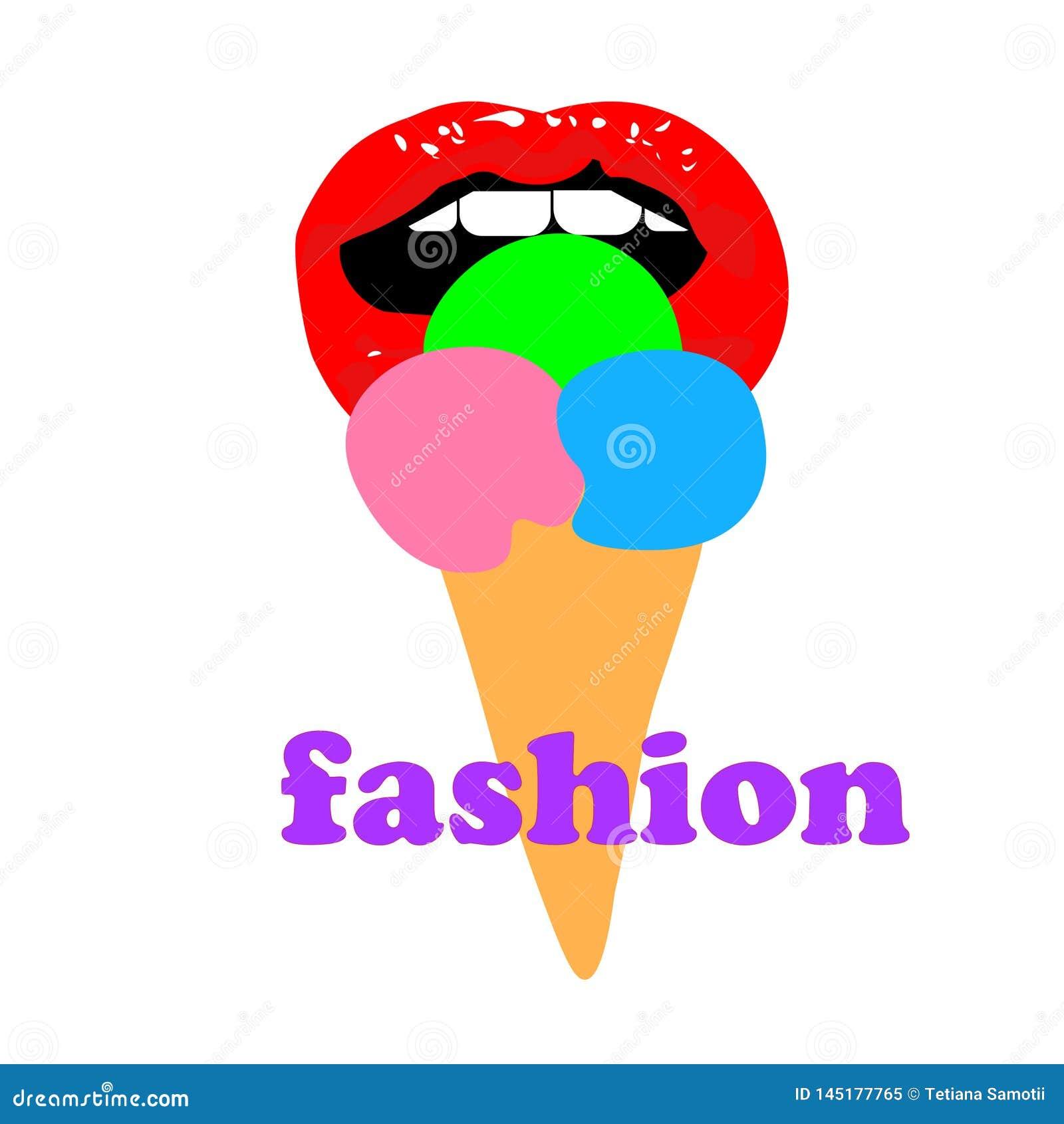 La bouche ouverte de fille de Web et mange la crème glacée de glace à l eau La femme l?che une cr?me glac?e sur le b?ton Sensuel