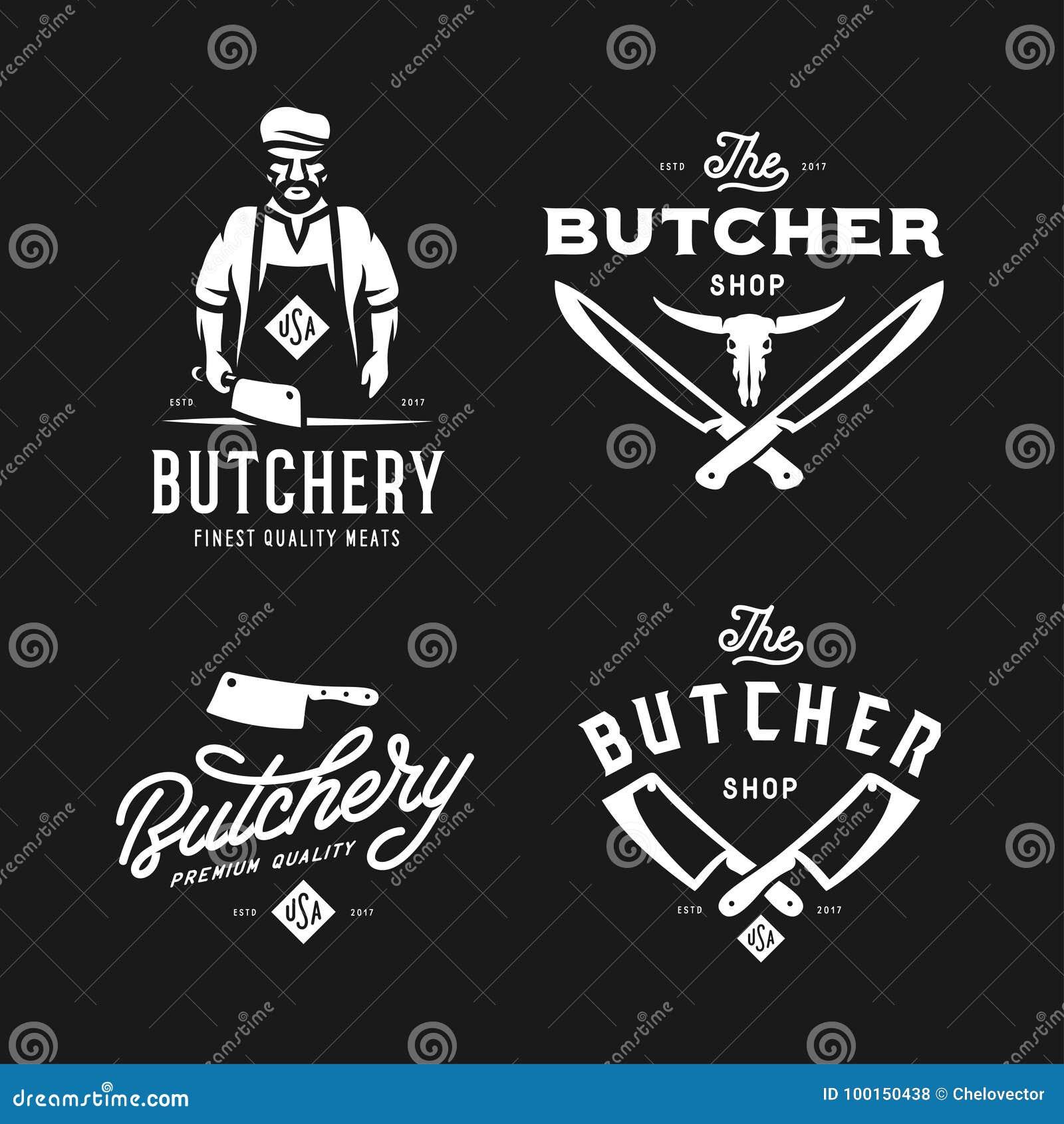 La boucherie marque des emblèmes d insignes réglés Illustration de vintage de vecteur