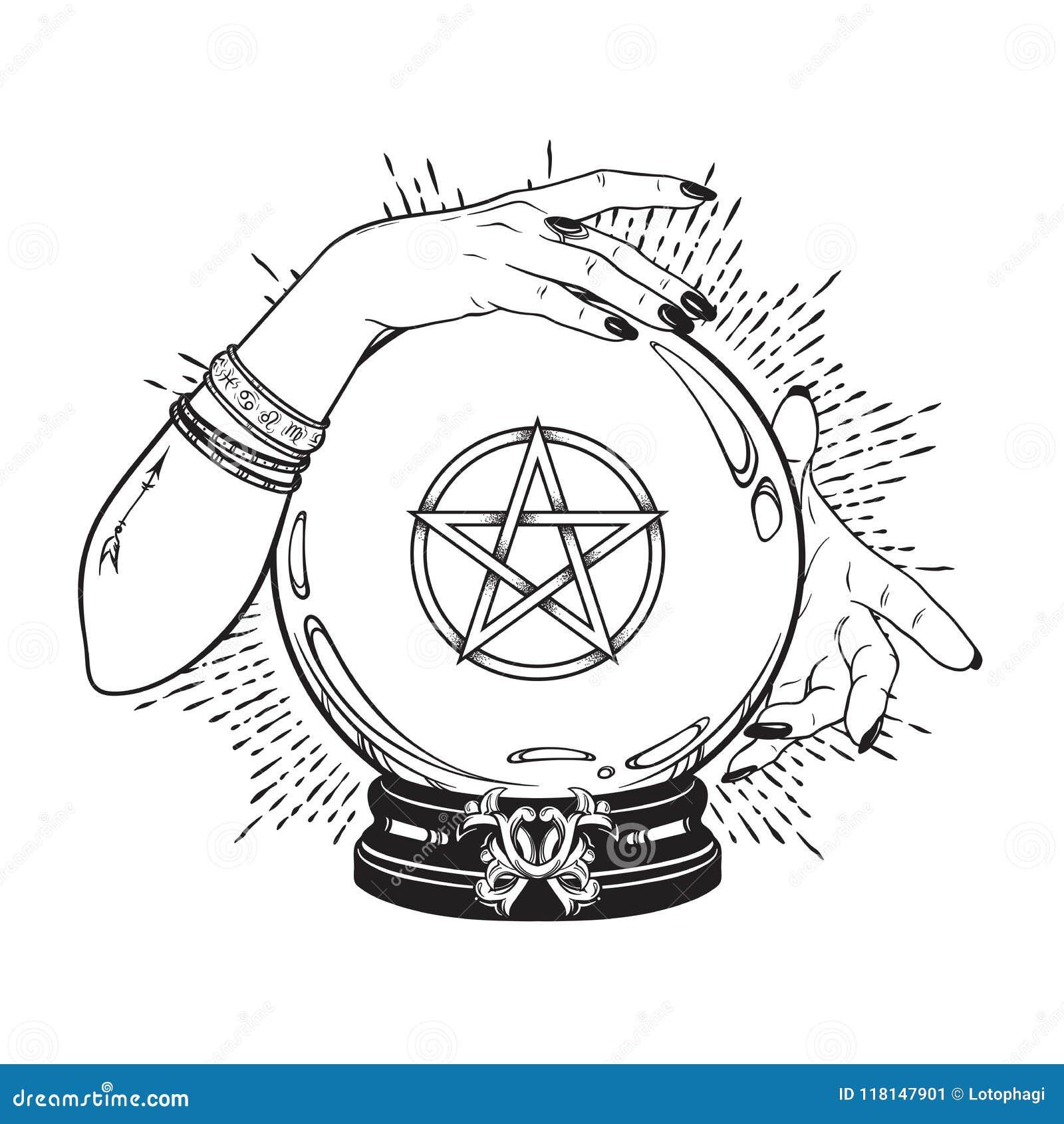 La boule de cristal magique tirée par la main avec l étoile de pentagone étoilé dans des mains de schéma et point diseur de bonne