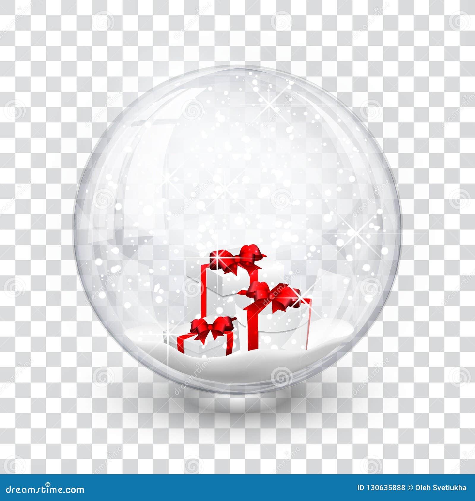 La boule de globe de neige avec des chrismas réalistes de nouvelle année de boîte-cadeau objectent d isolement sur le fond transp