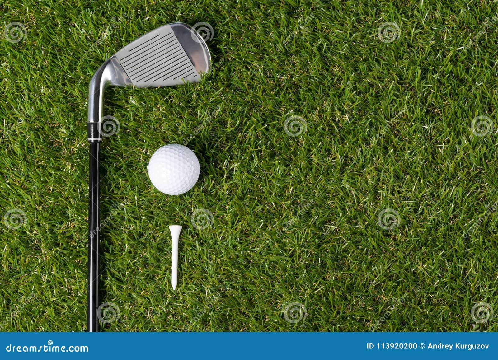 La boule de golf avec la pièce en t et le putter en bois se trouve dans la perspective de l herbe