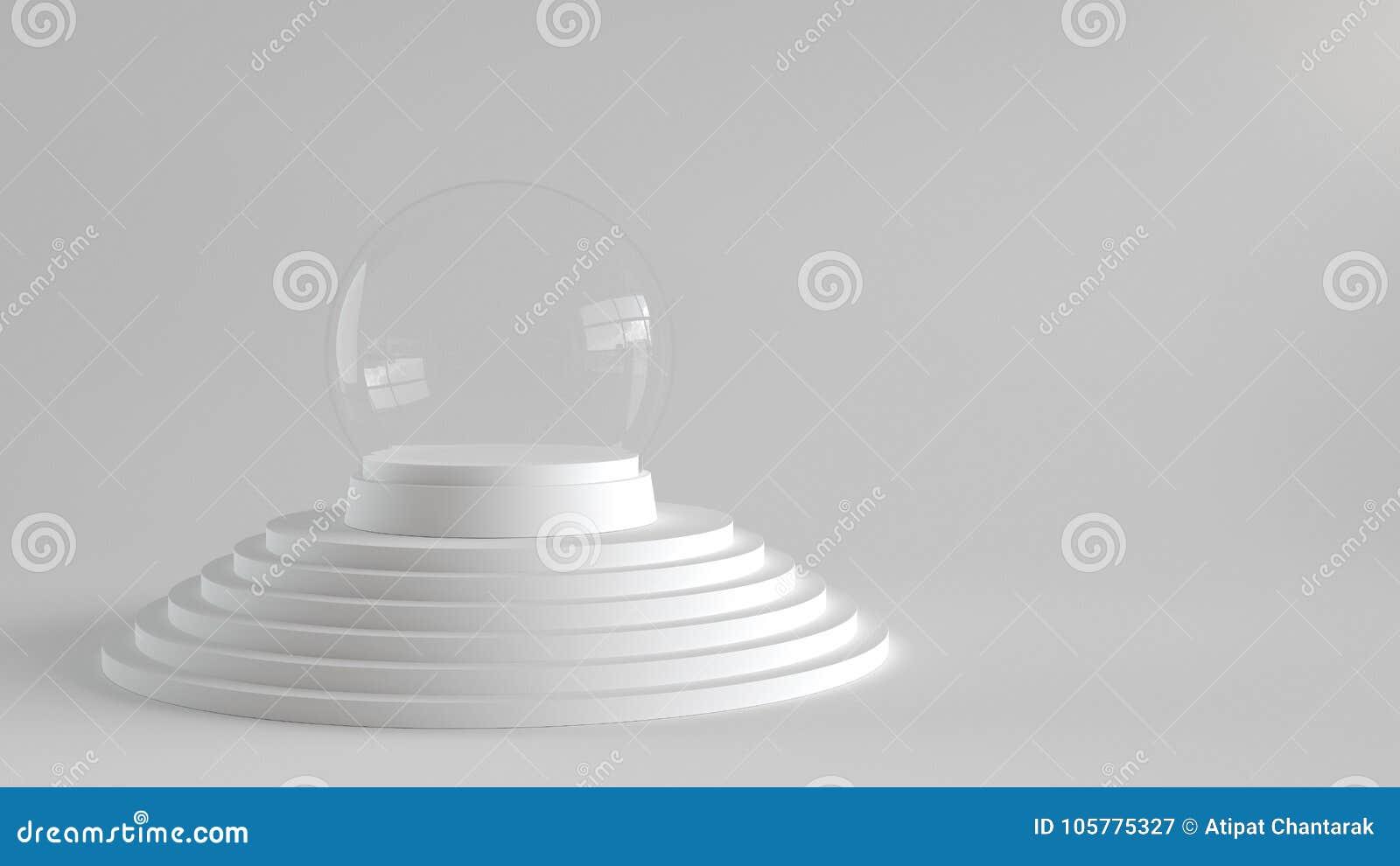 la boule en verre de neige vide avec le plateau blanc sur le blanc fait un pas podium avec le. Black Bedroom Furniture Sets. Home Design Ideas