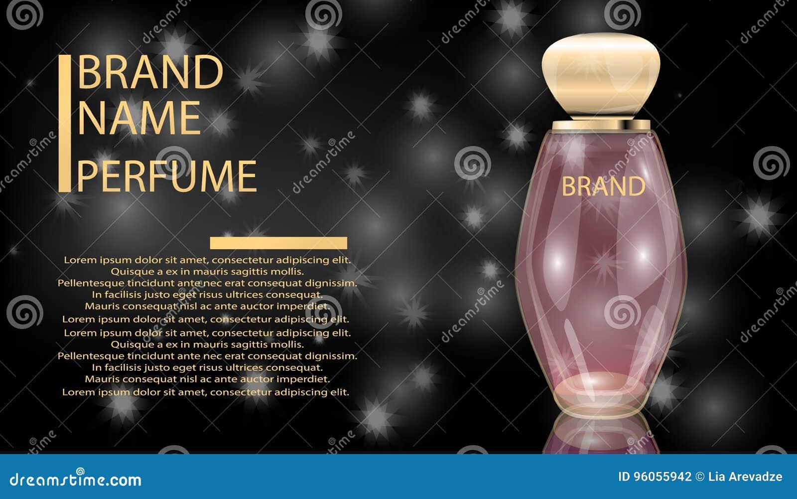 La bouteille en verre de parfum fascinant sur le scintillement effectue le fond
