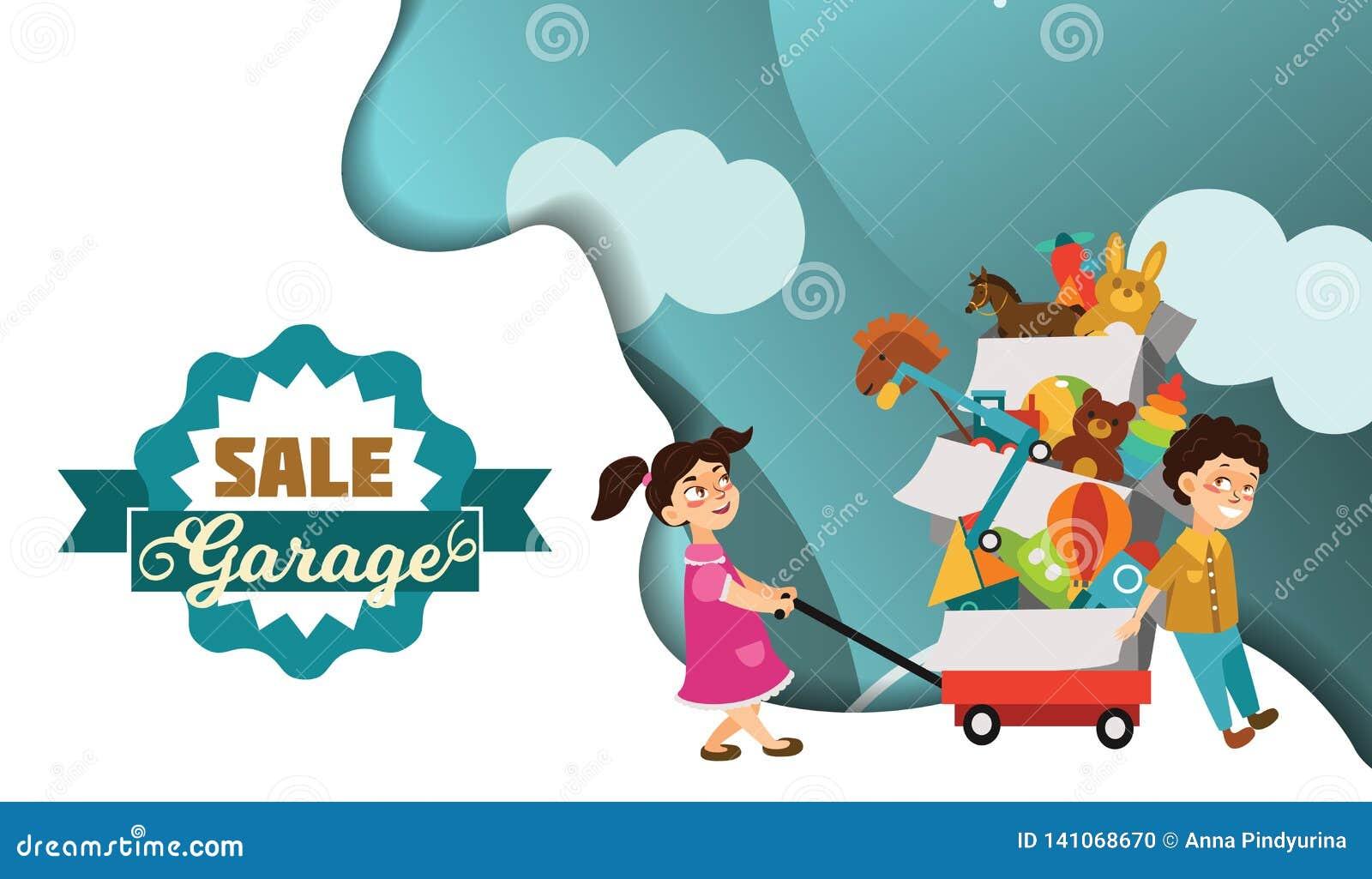 La brocante à domicile, le garçon et la fille ont acheté des jouets à la vente de ressort, enfants portent le chariot avec des bo