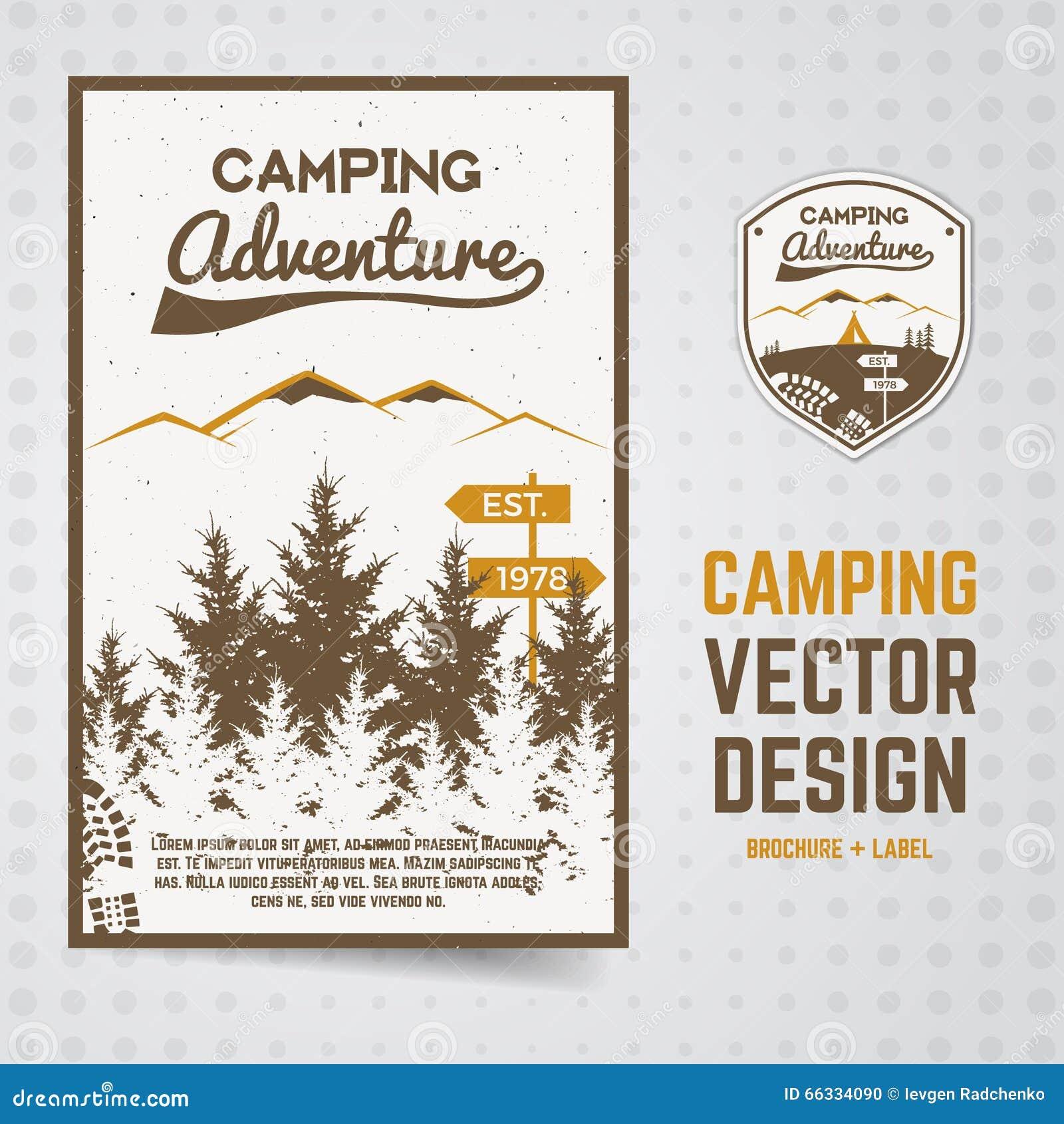 La brochure de vecteur d aventure de camping et marquent le concept de l insecte pour vos affaires, sites Web, présentations