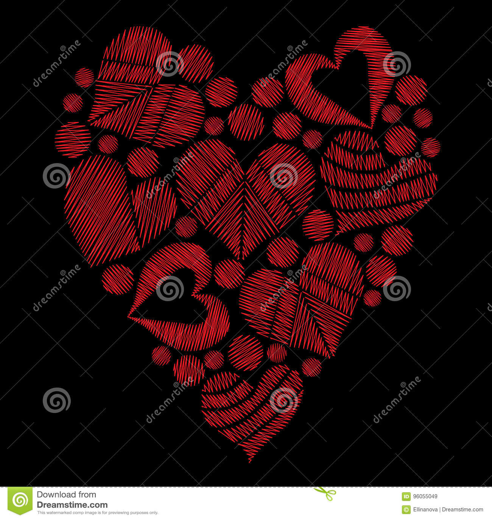 La broderie rouge réglée de coeur pique l imitation sous la forme de coeur dessus