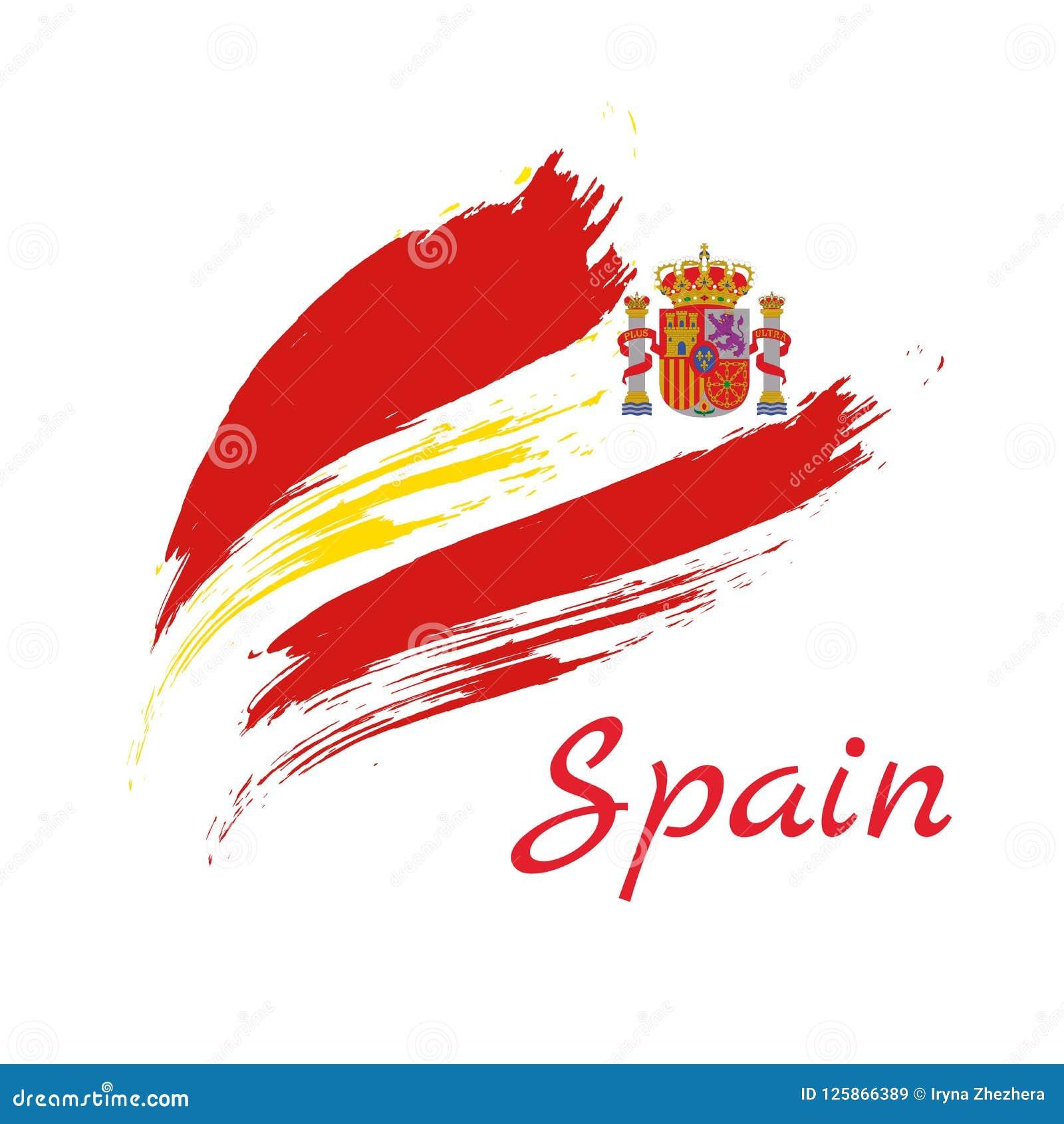 La brosse colorée de l Espagne frotte l icône nationale peinte de drapeau de pays texture peinte