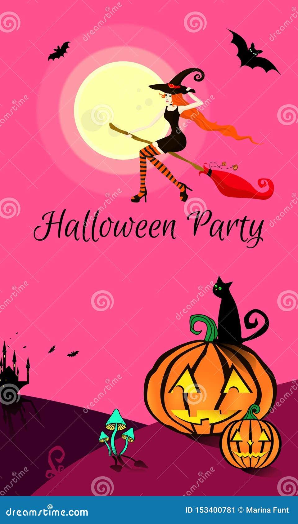 La bruja hermosa joven en un vestido, un sombrero y medias apretados negros vuela en un palo de escoba para un partido de Hallowe