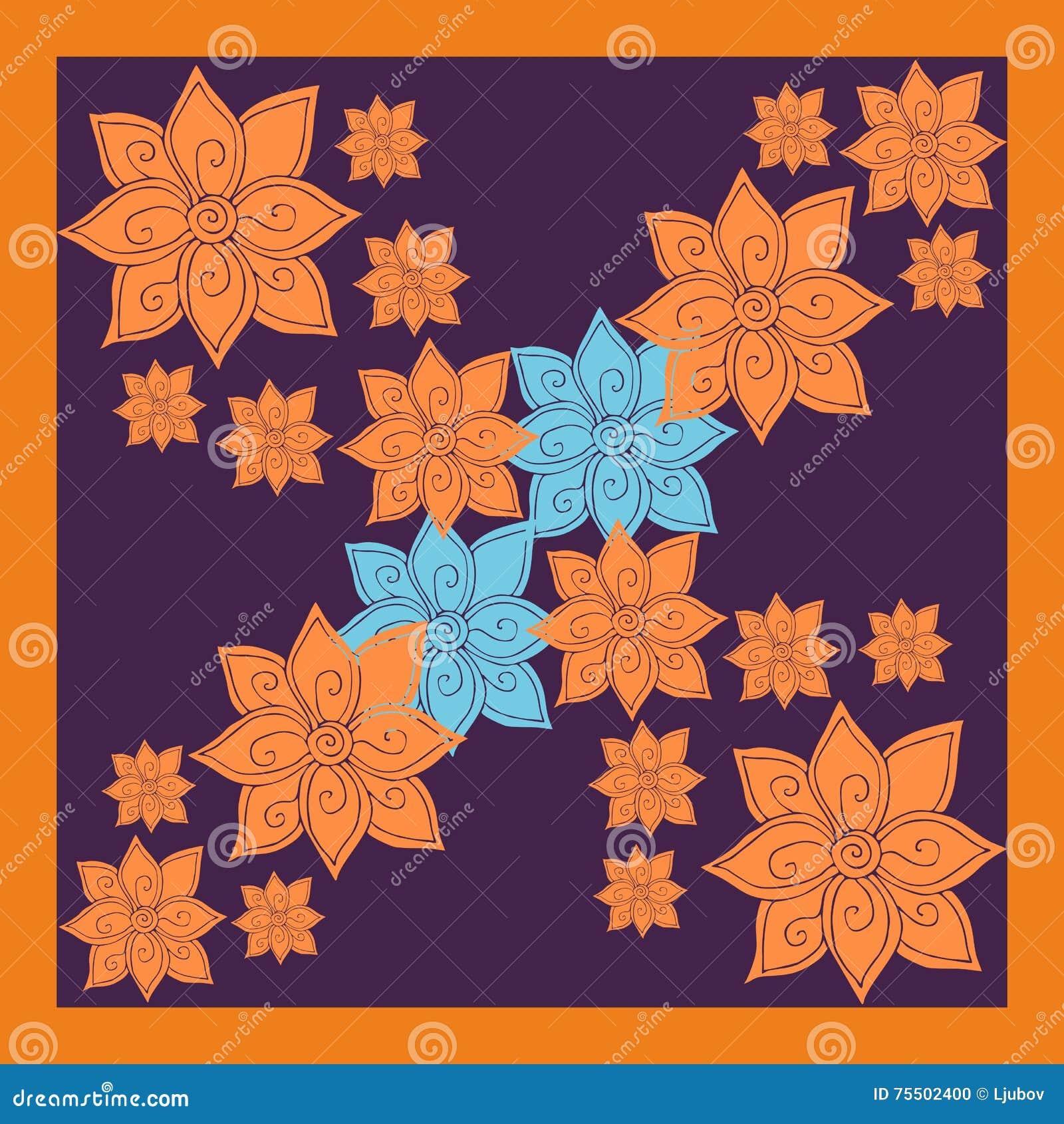 La bufanda o el pañuelo de seda floral de cuello imprime con las flores anaranjadas y azules brillantes