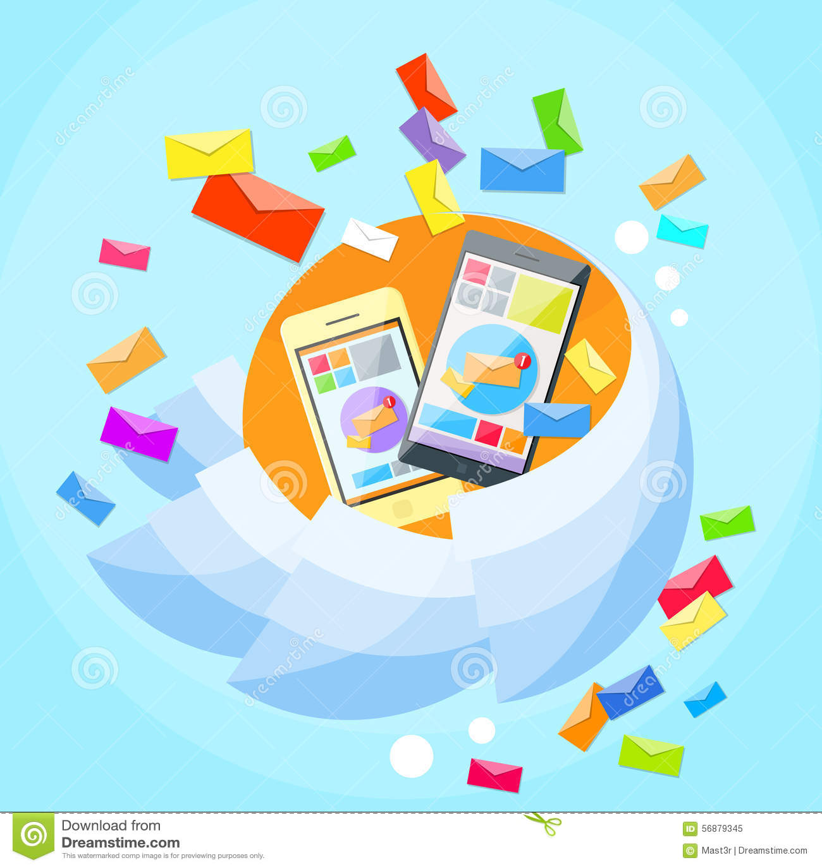 La busta dello Smart Phone delle cellule invia la posta di affari