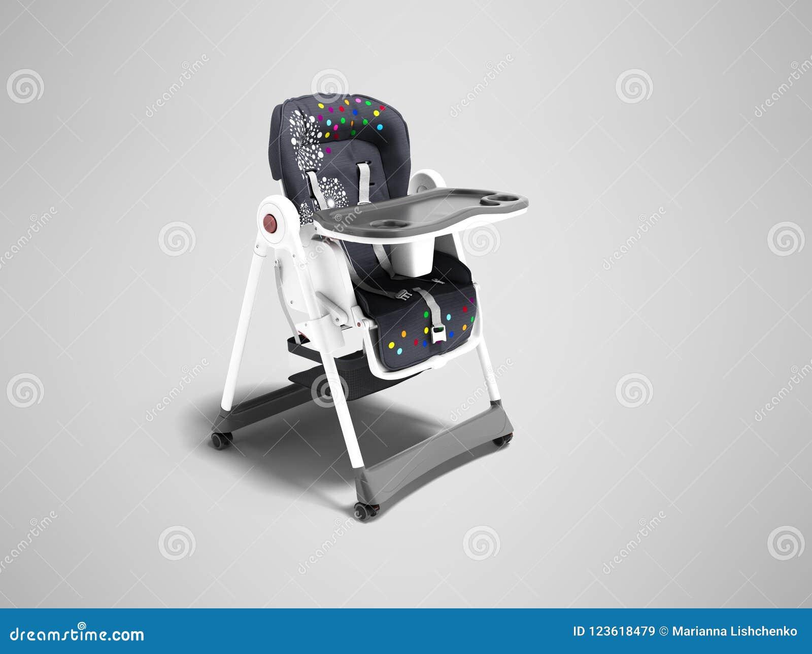 La butaca azul moderna para alimentar al pequeño niño con los cinturones de seguridad y la tabla para la opinión de la taza y de
