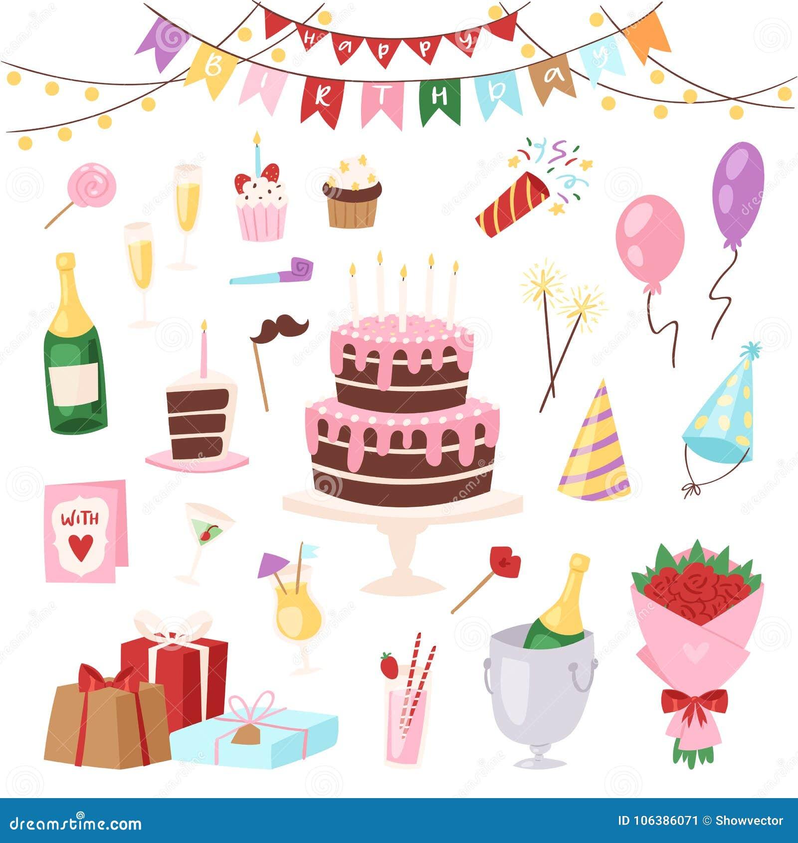 La célébration heureuse de gâteau ou de petit gâteau de naissance de childs de bande dessinée de vecteur de partie d enfants d an