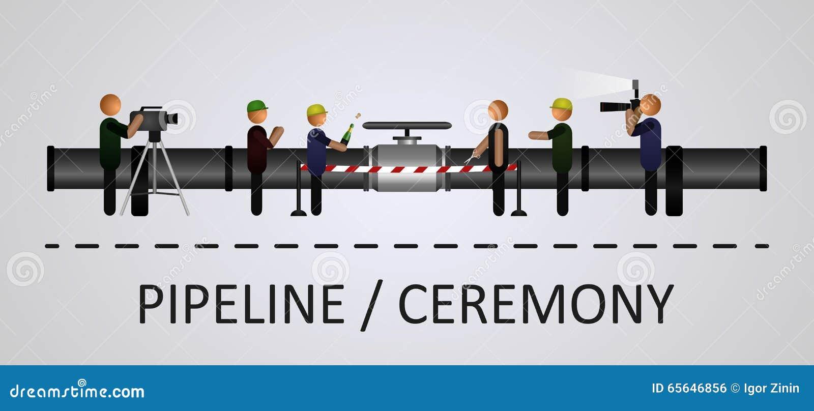 La cérémonie d ouverture de la canalisation avec les personnes