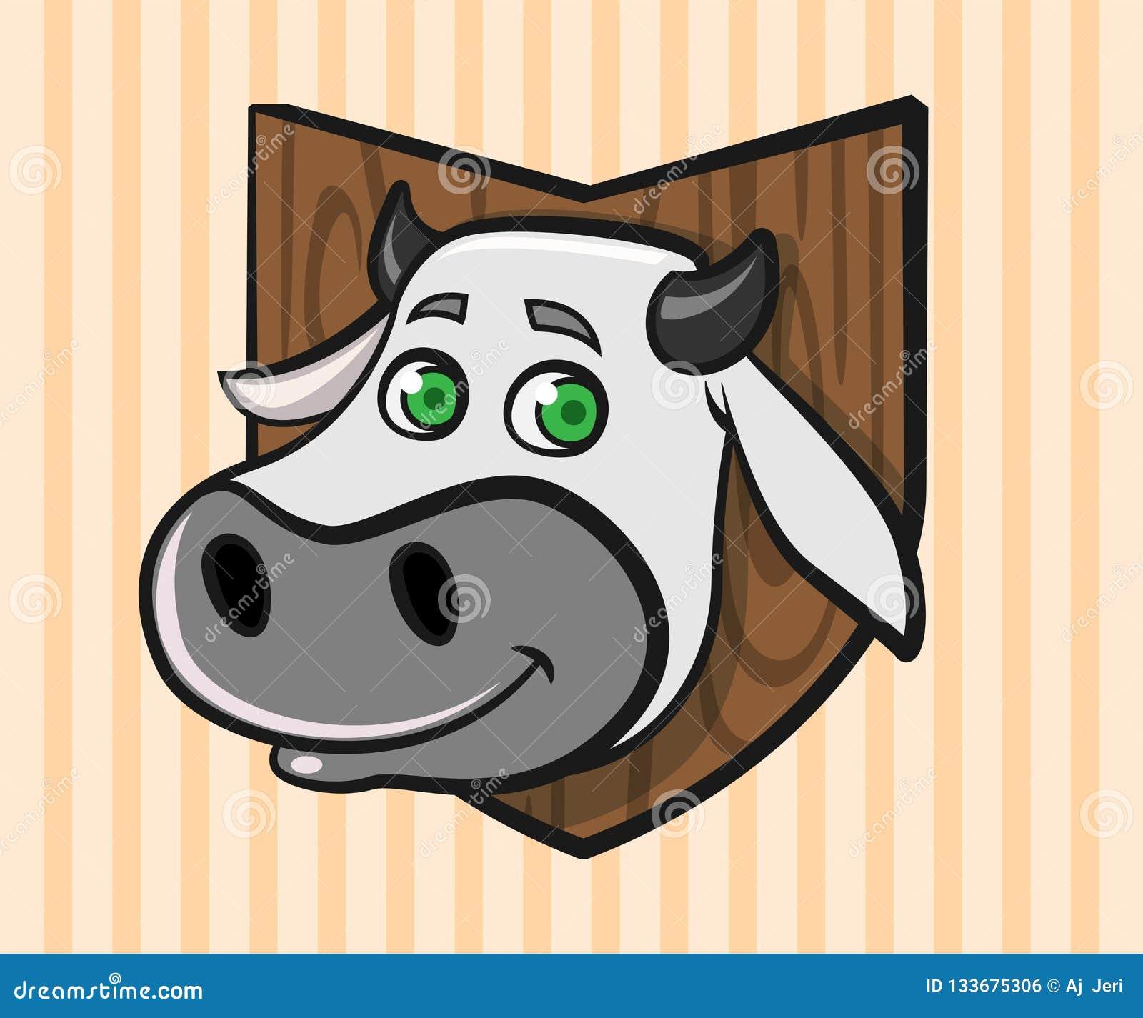 La cabeza de una vaca de la historieta montó en una pared