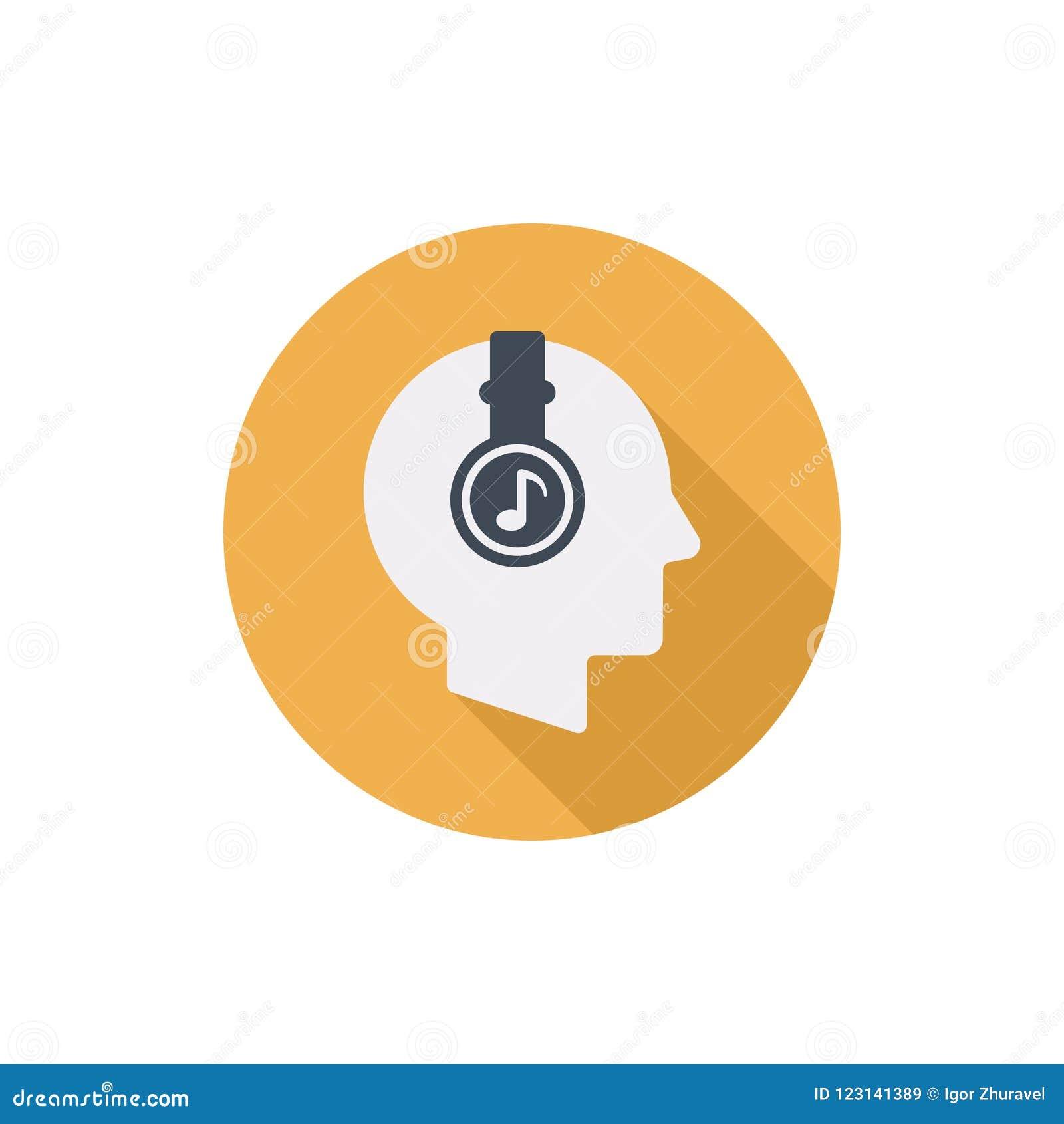 La cabeza humana con los auriculares vector el icono redondo plano