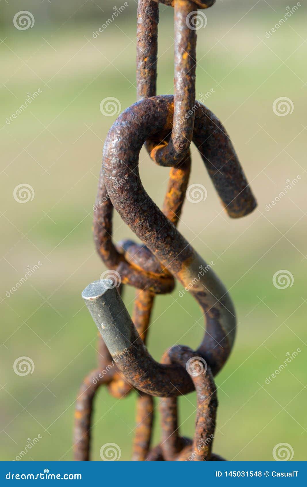 La cadena, las alambradas, y grande oxidados viejos sacudieron, con un fondo verde del bokeh, el primer, Block Island, RI