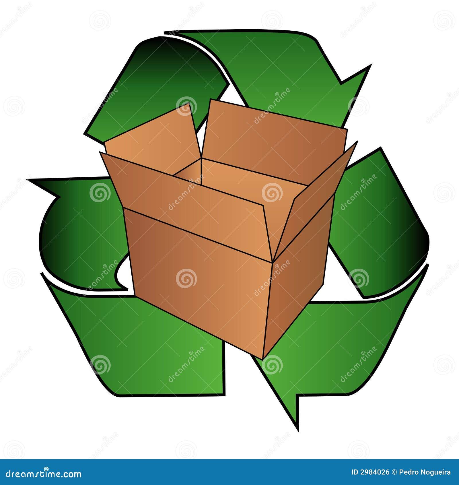 La caja de cartón recicla símbolo