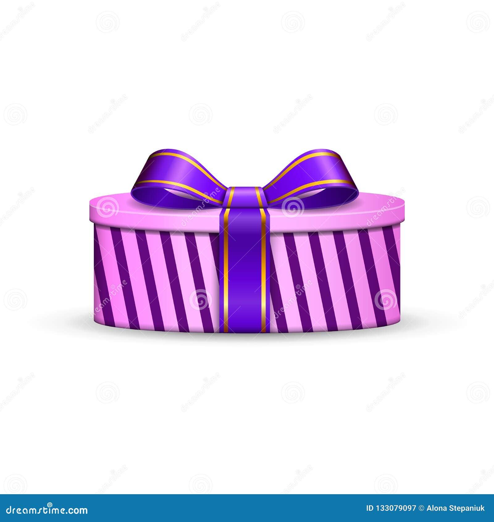 La caja de regalo 3d, el arco violeta de la cinta aisló el fondo blanco Actual regalo-caja púrpura de la decoración para el día d