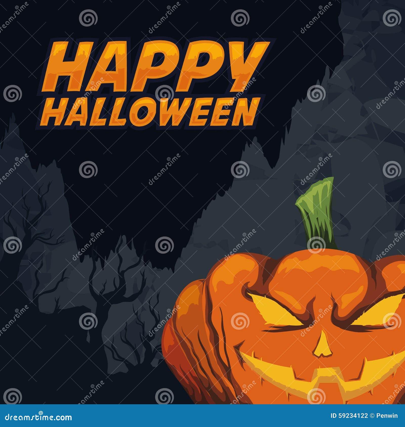 Download La Calabaza Más Asustadiza De Halloween En Fondo Fantasmagórico Ilustración del Vector - Ilustración de estación, ilustración: 59234122