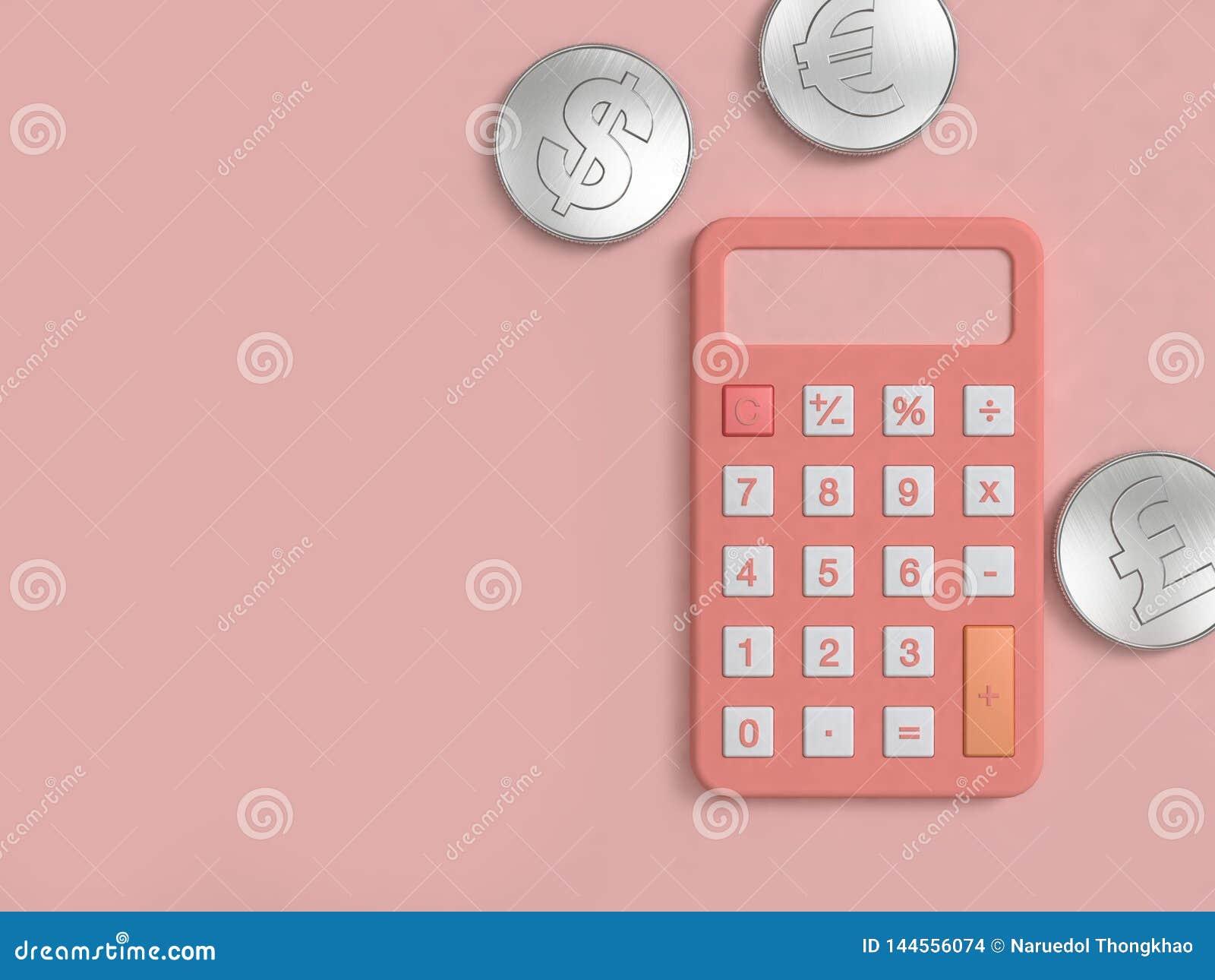 La calculadora rosada y la moneda de plata tres en el piso 3d mínimo del rosa rinden