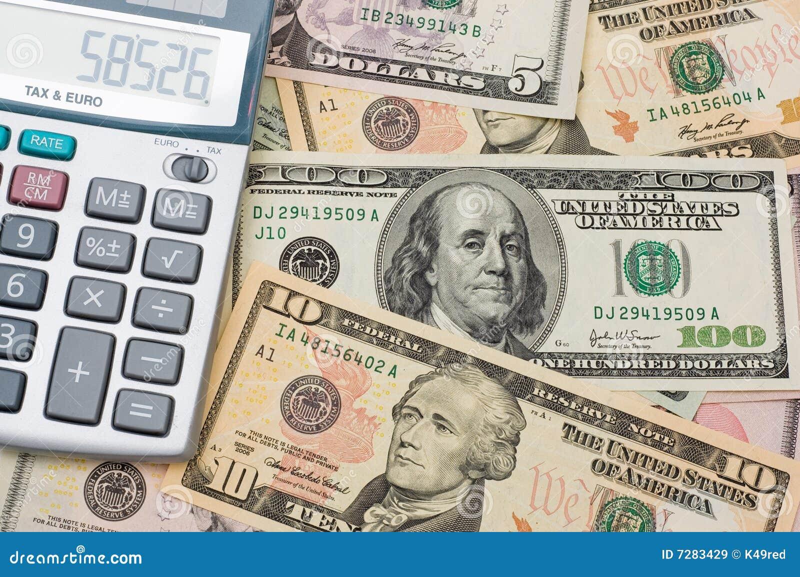 La calculadora y dólar americano