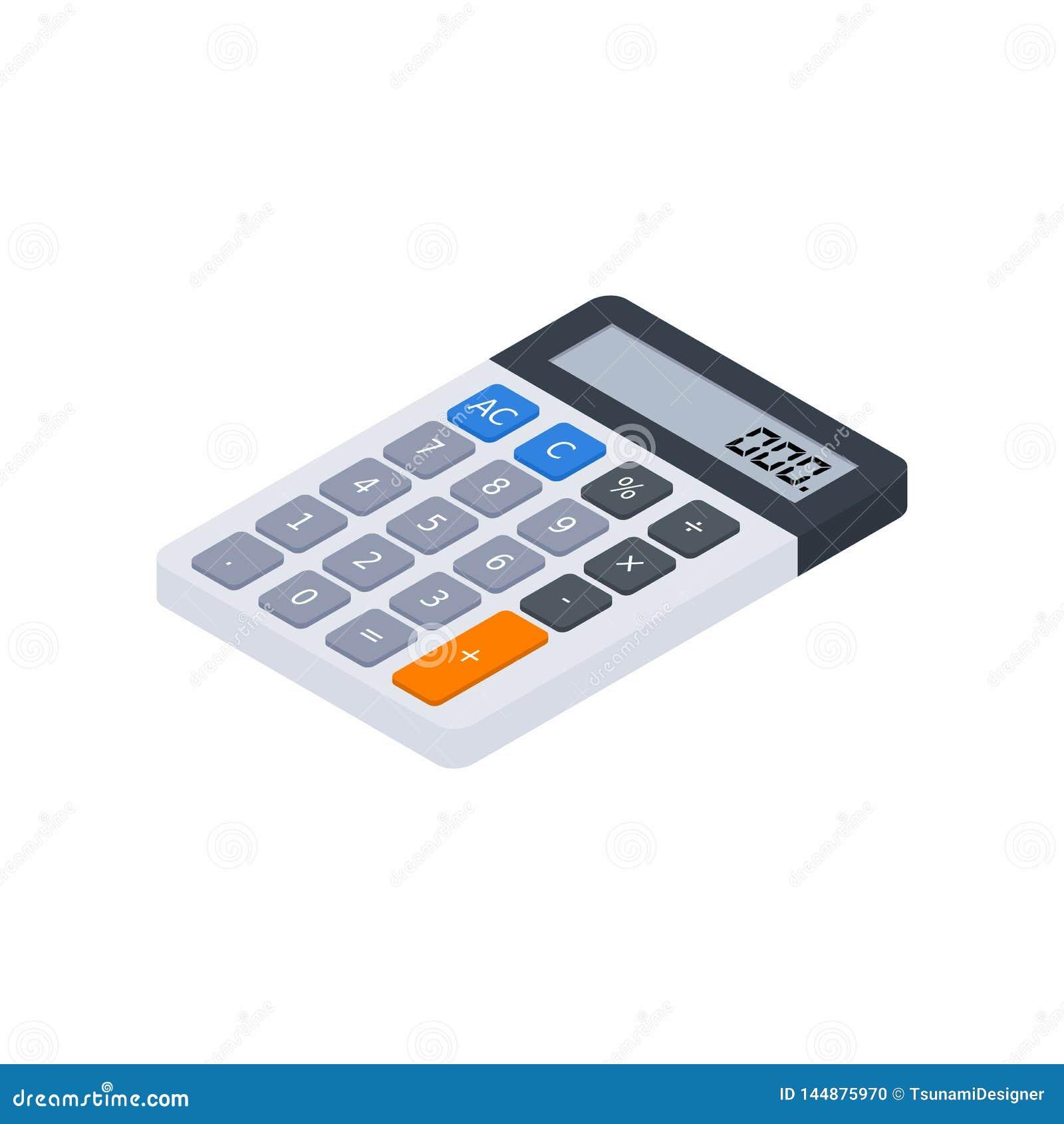 La calculatrice électronique, isométrique, concept calculent des finances de compte, équipement de bureau, finances, affaires,