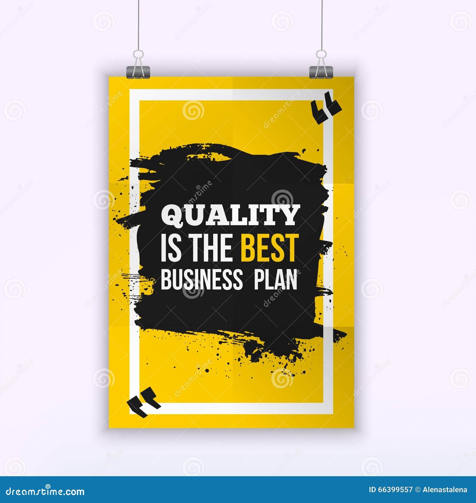 La calidad del cartel es el mejor plan empresarial Concepto de diseño de la cita del negocio de la motivación en el papel con la
