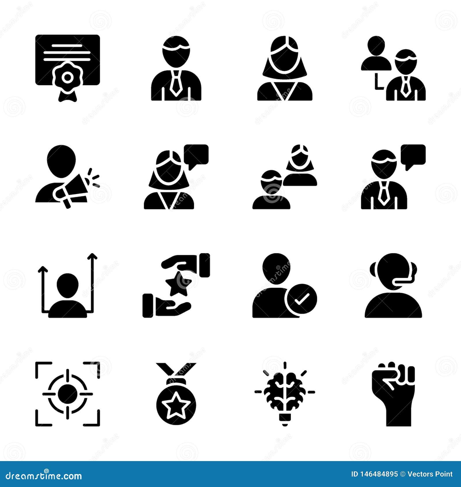 La calidad personal, iconos sólidos de la gestión del empleado embala