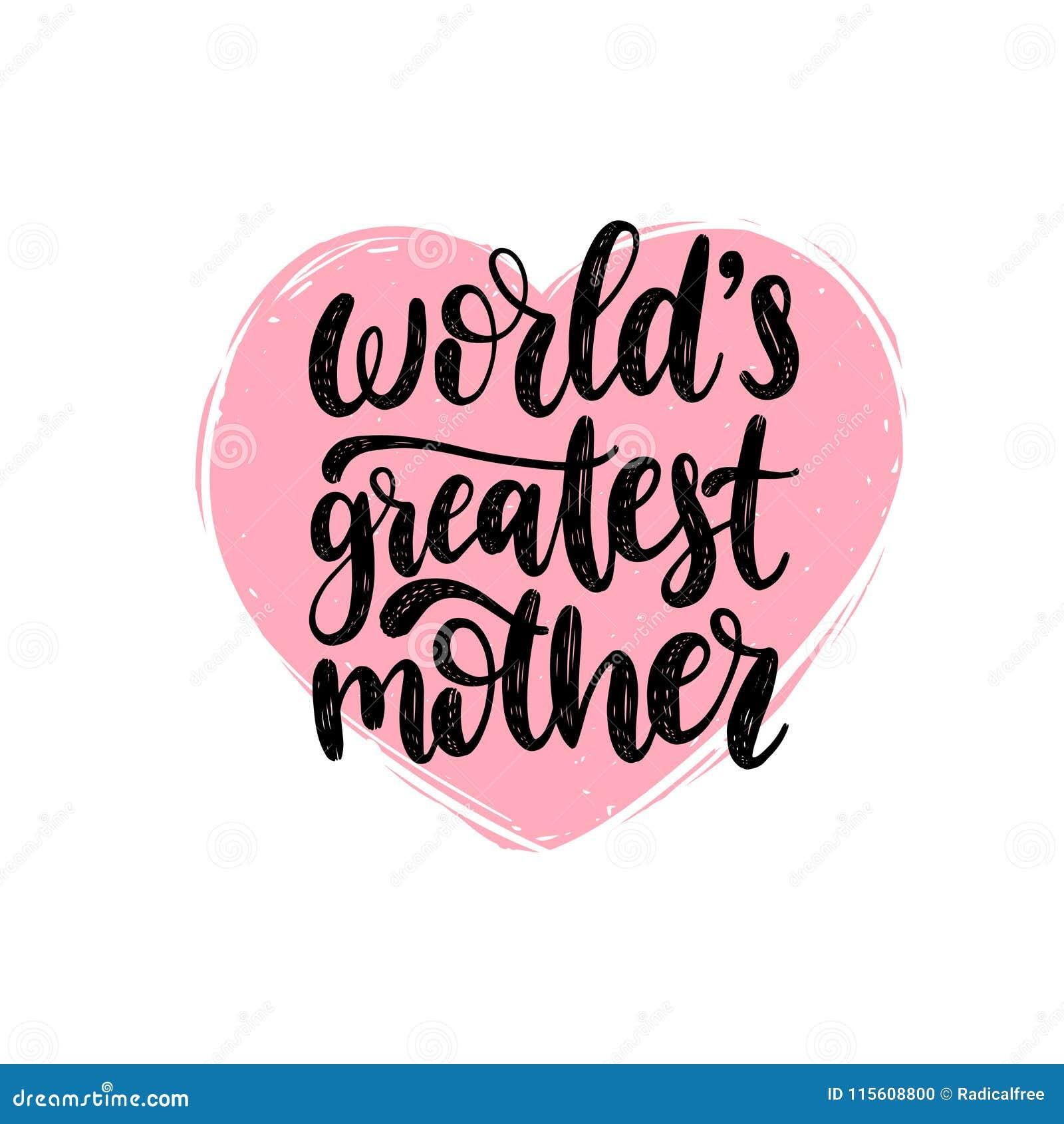 La caligrafía más grande del vector de la madre de los mundos Ejemplo feliz de las letras de la mano del día de madres en la form