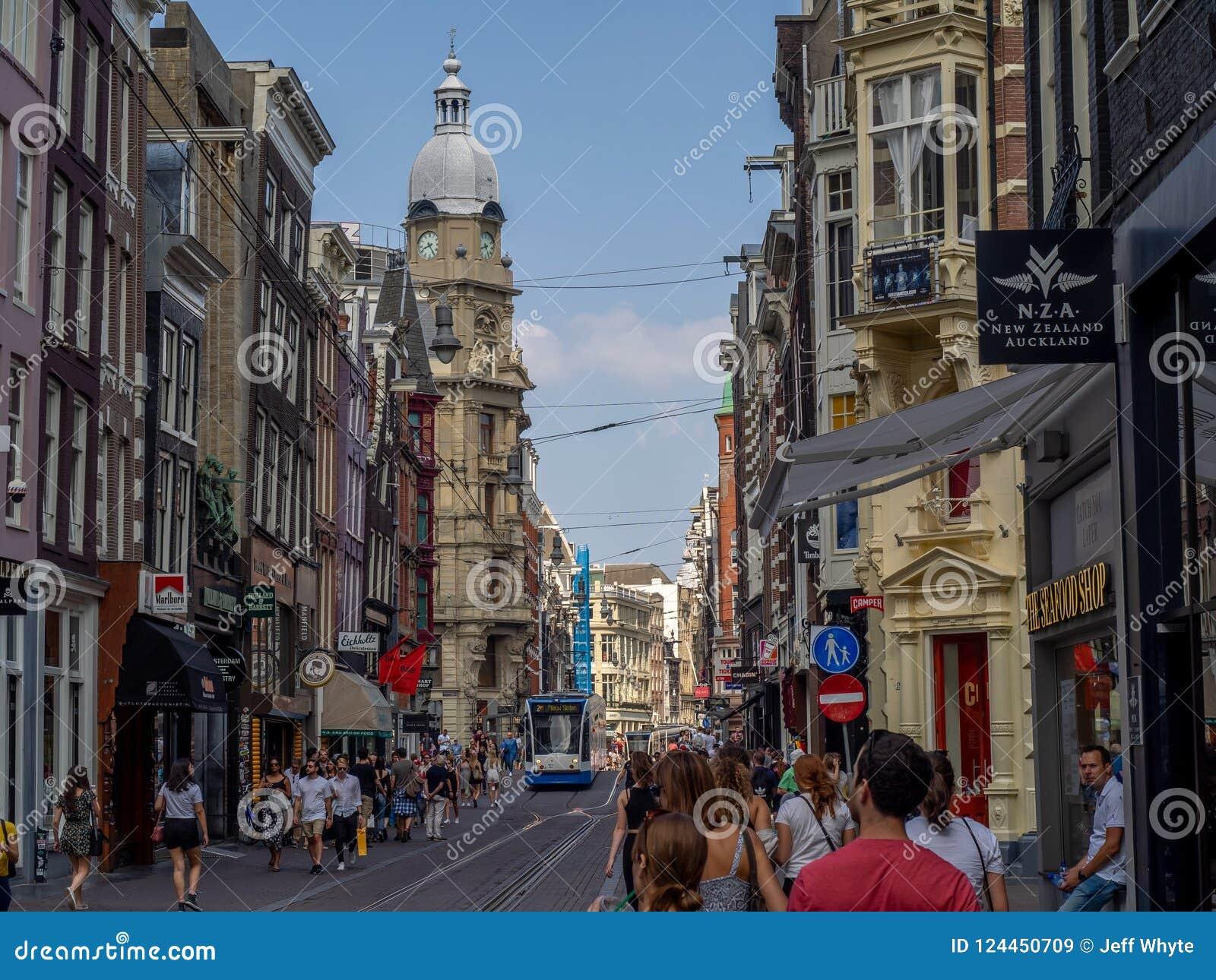 La calle ocupada de las compras de Leidsestraat