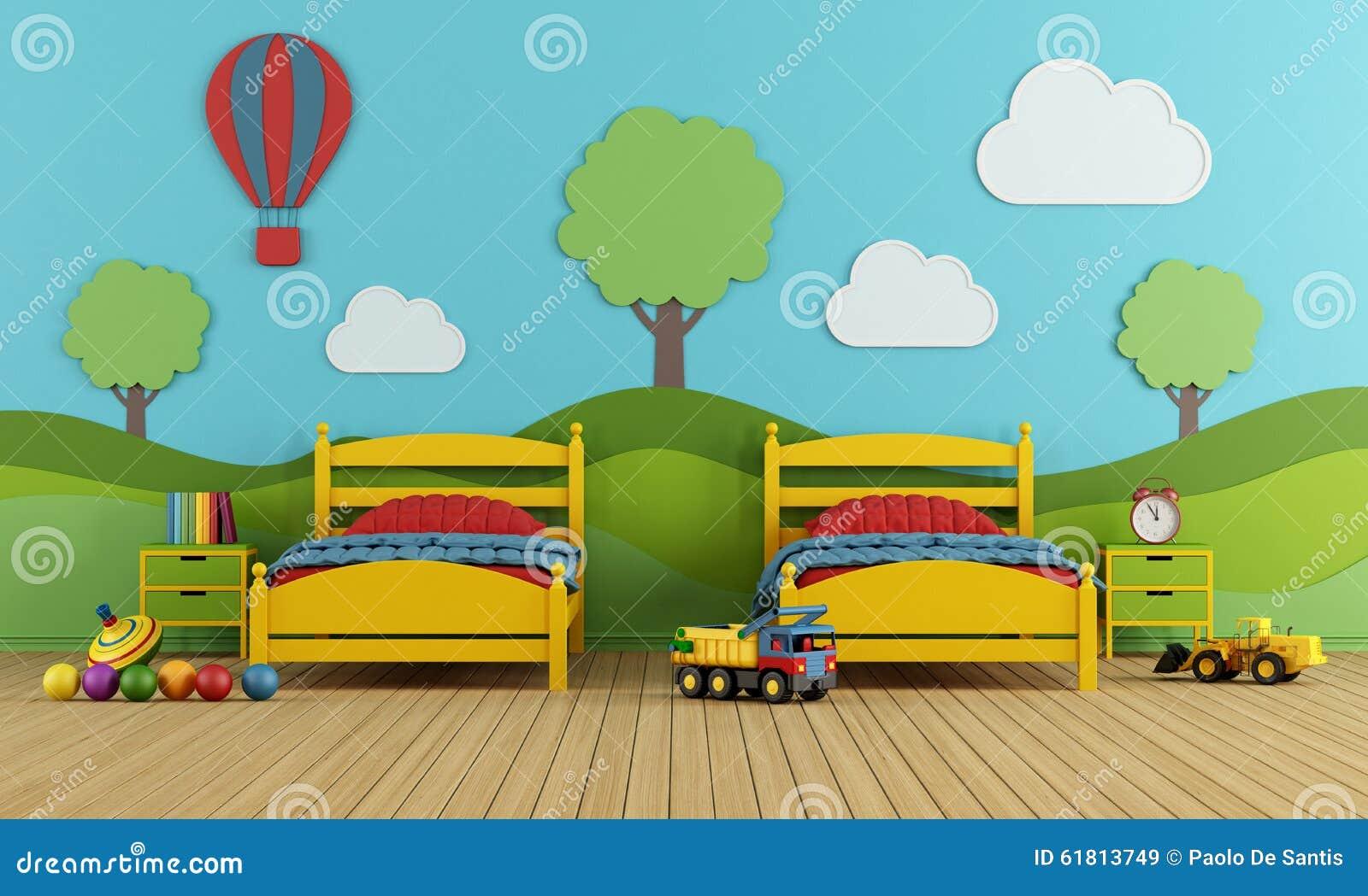 La camera da letto dei bambini con due letti singoli - Camera da letto bambini ...