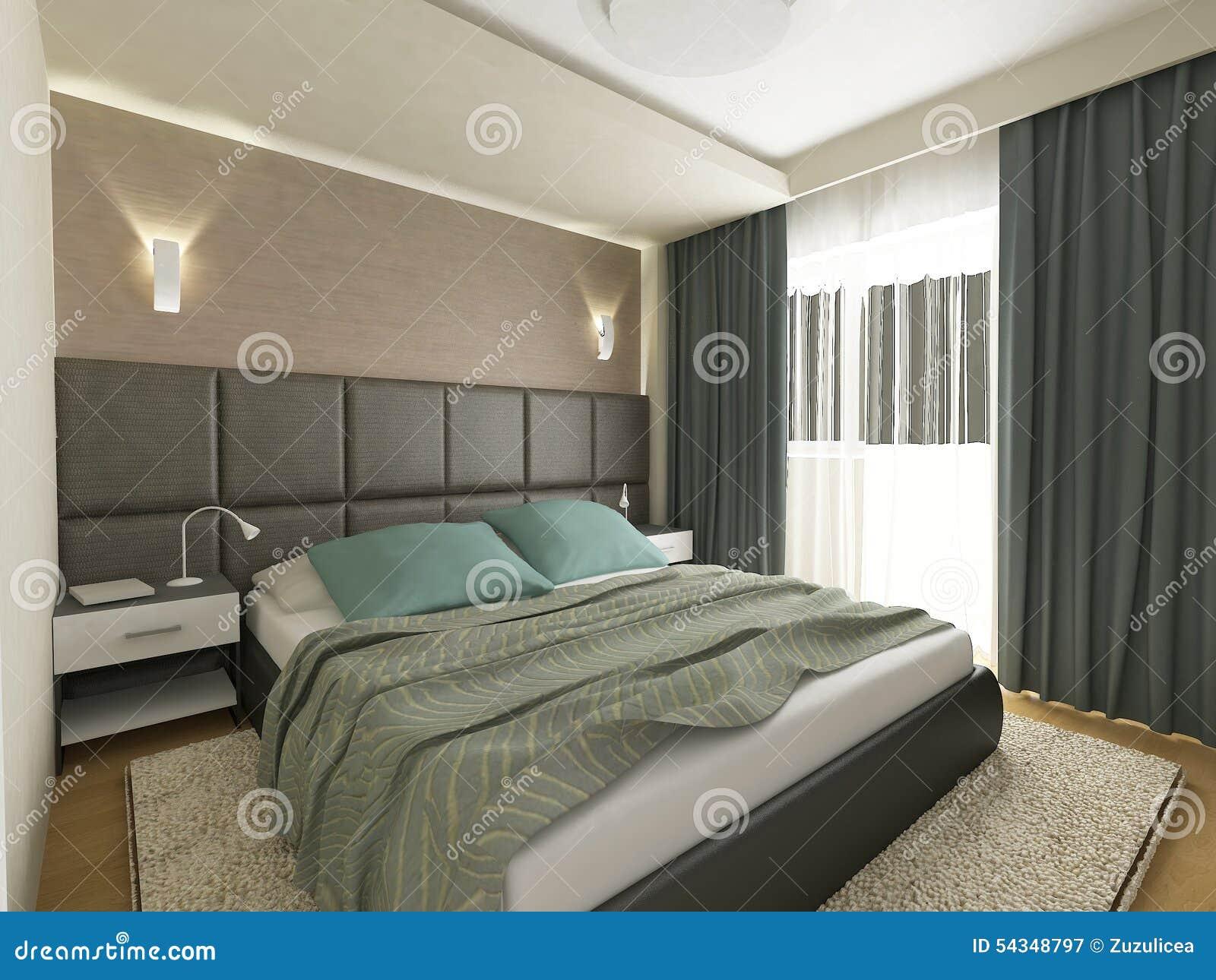 La camera da letto elegante 3d rende illustrazione di for Camera letto 3d