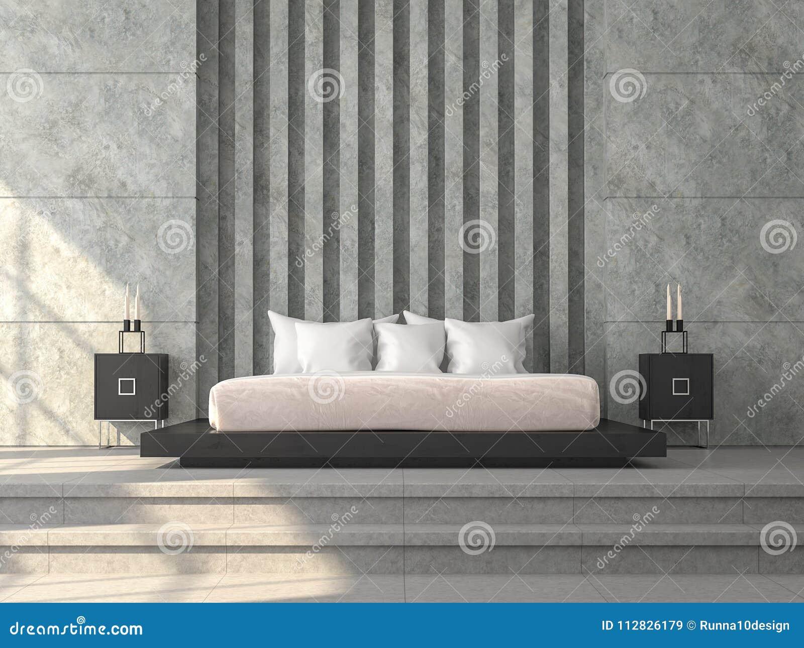 La camera da letto moderna 3d di stile del sottotetto rende là