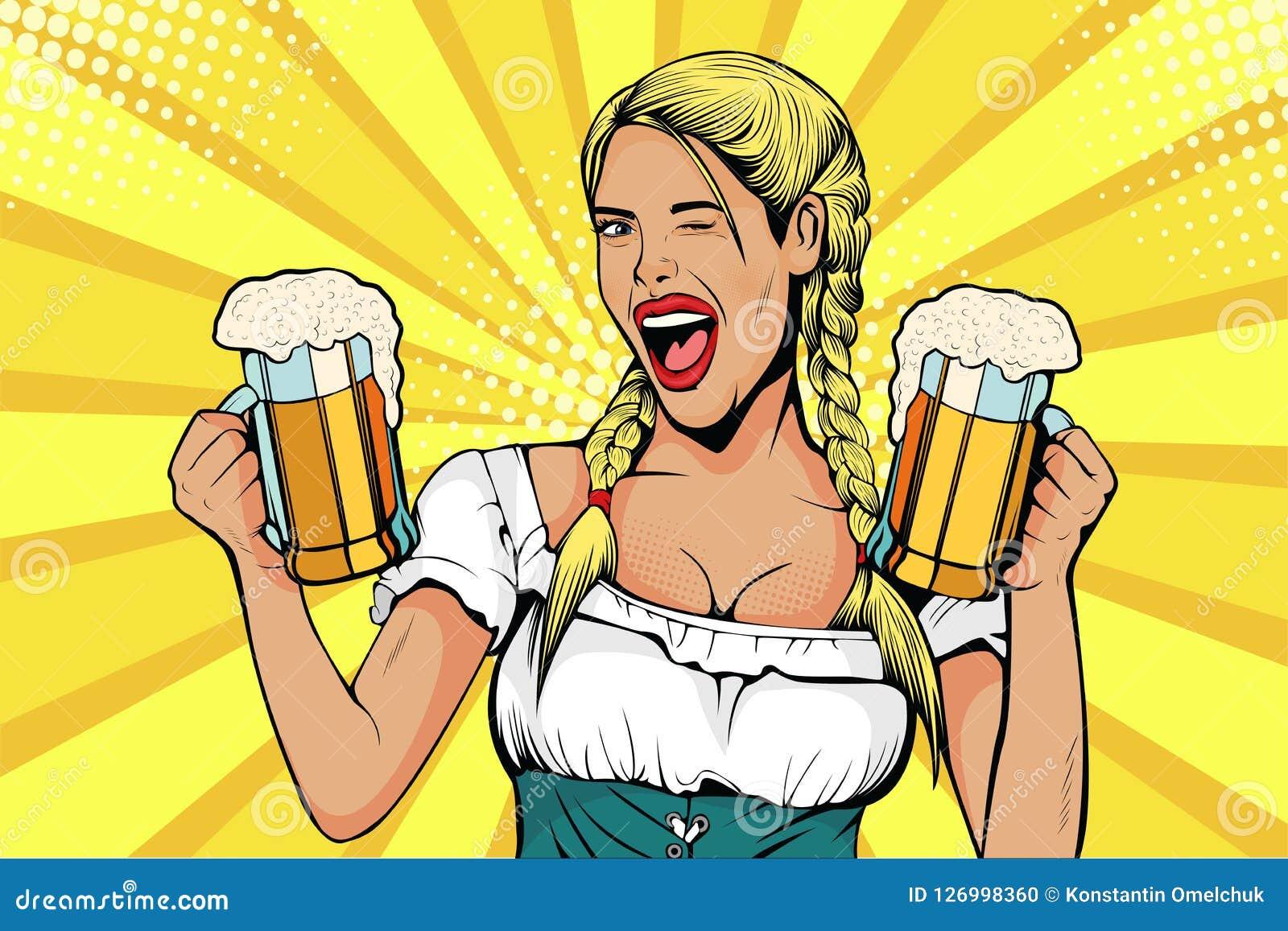 La cameriera di bar della ragazza della Germania di Pop art porta i vetri di birra Celebrazione di Oktoberfest