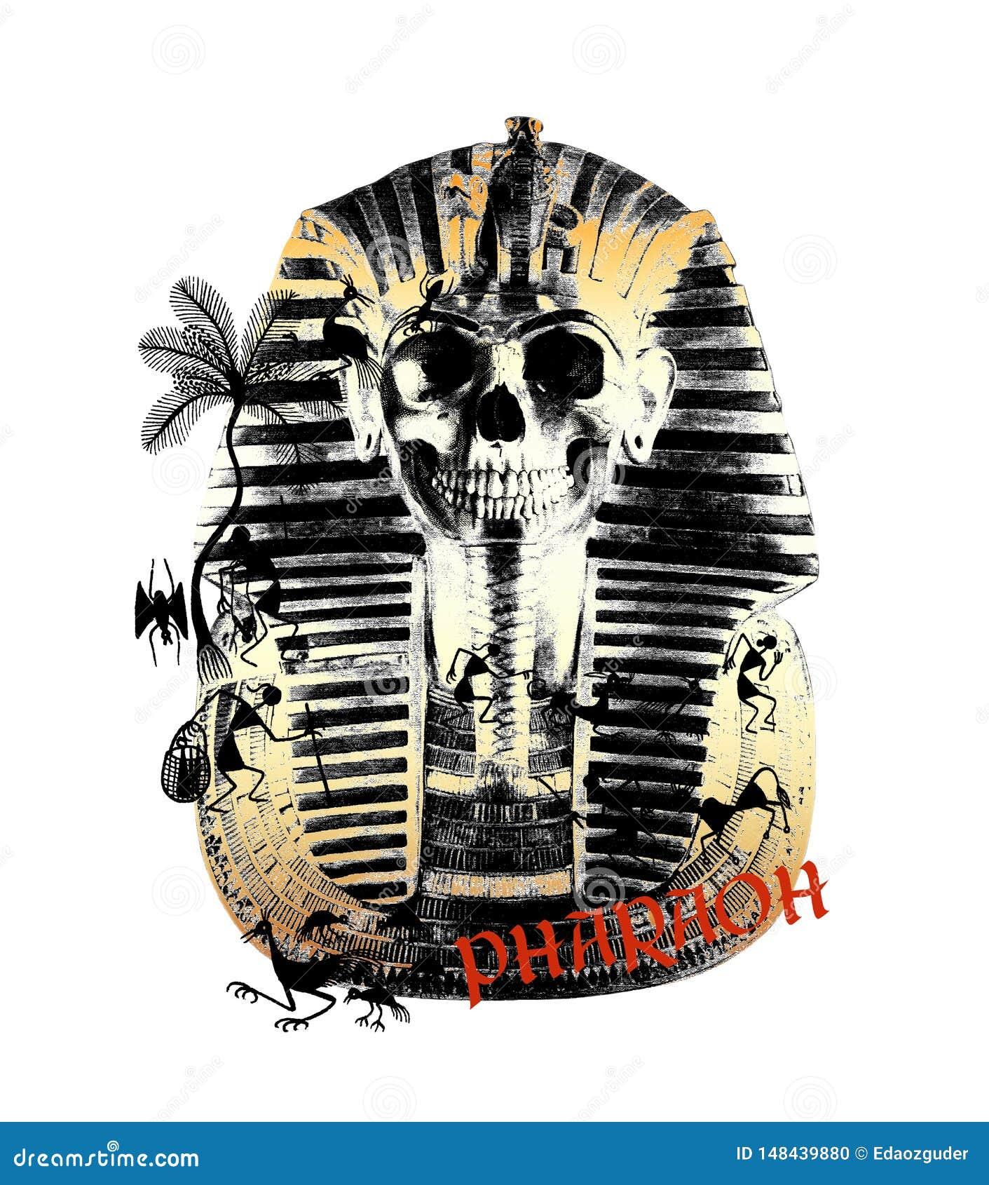 La camiseta étnica del faraón imprimió