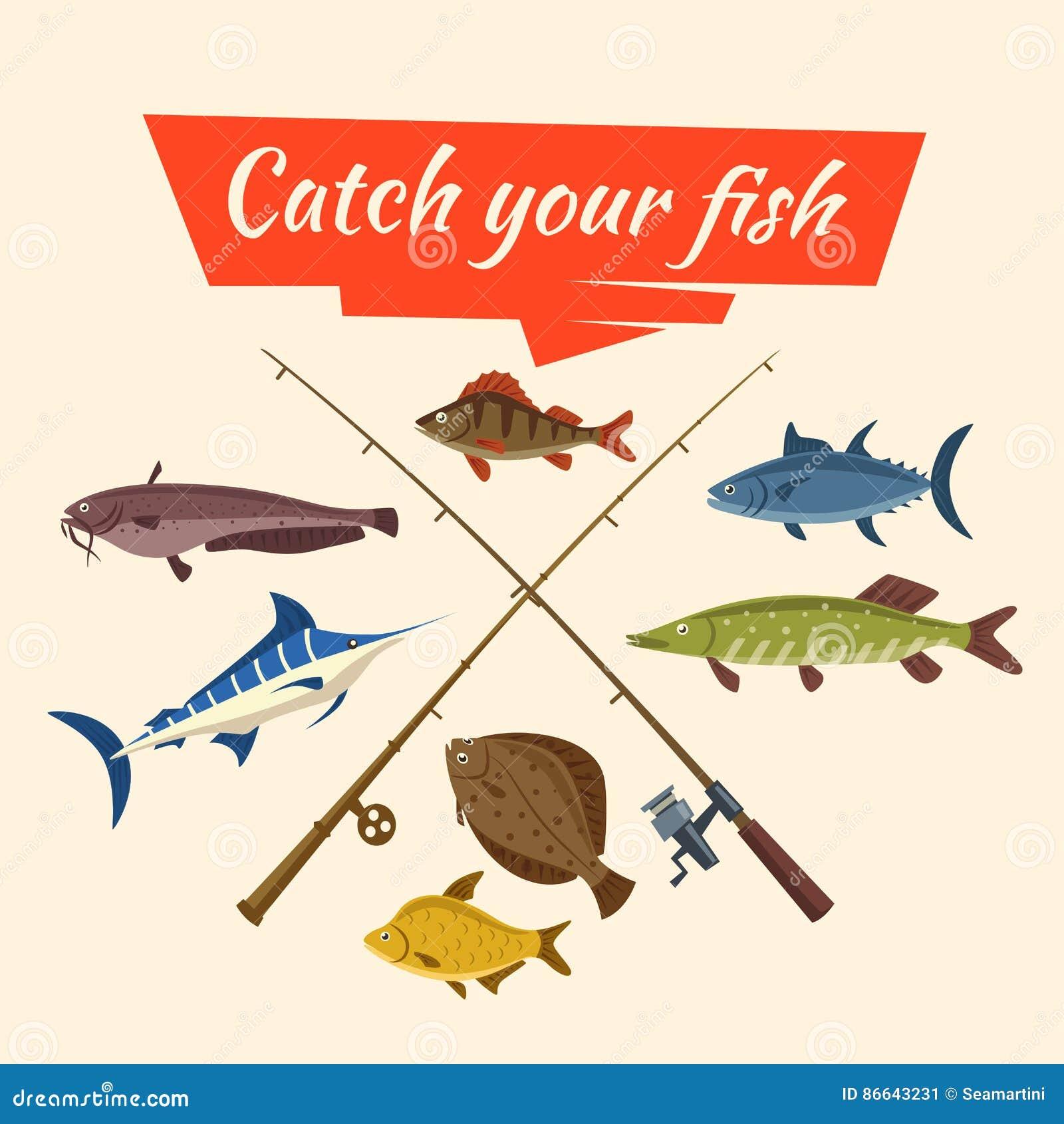 La captura y el pescador de pescados vector los trastos y las barras