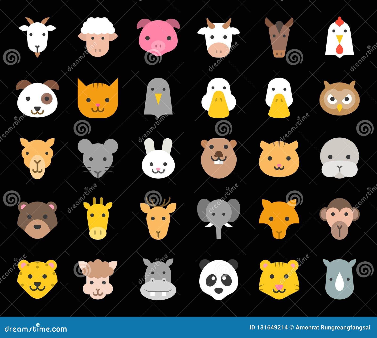 La cara animal linda incluyó la granja, el bosque y los animales africanos, diseño plano